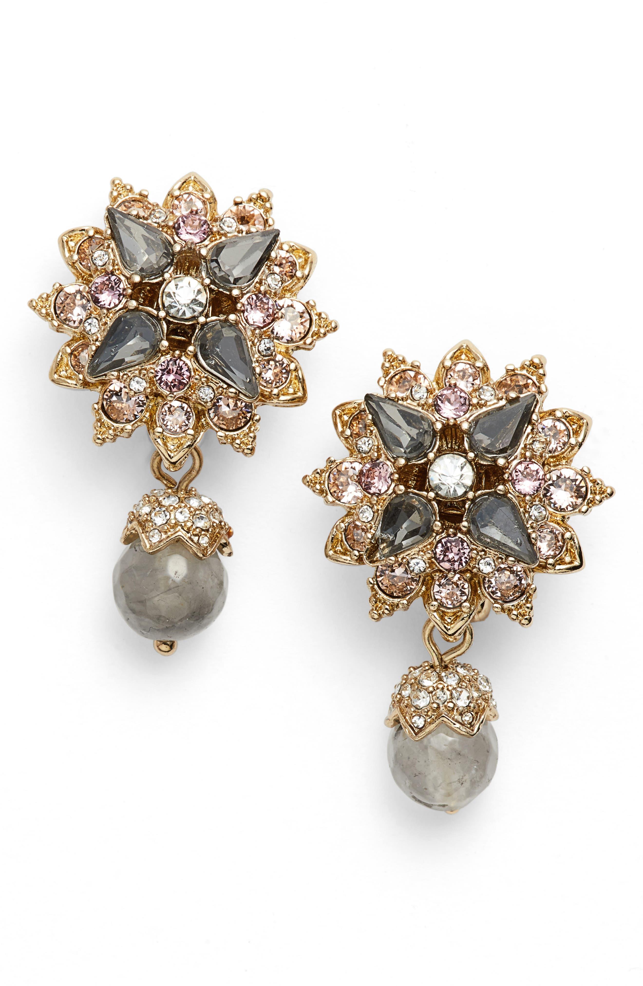 Crystal Drop Earrings,                             Main thumbnail 1, color,                             Gold/ Grey Multi