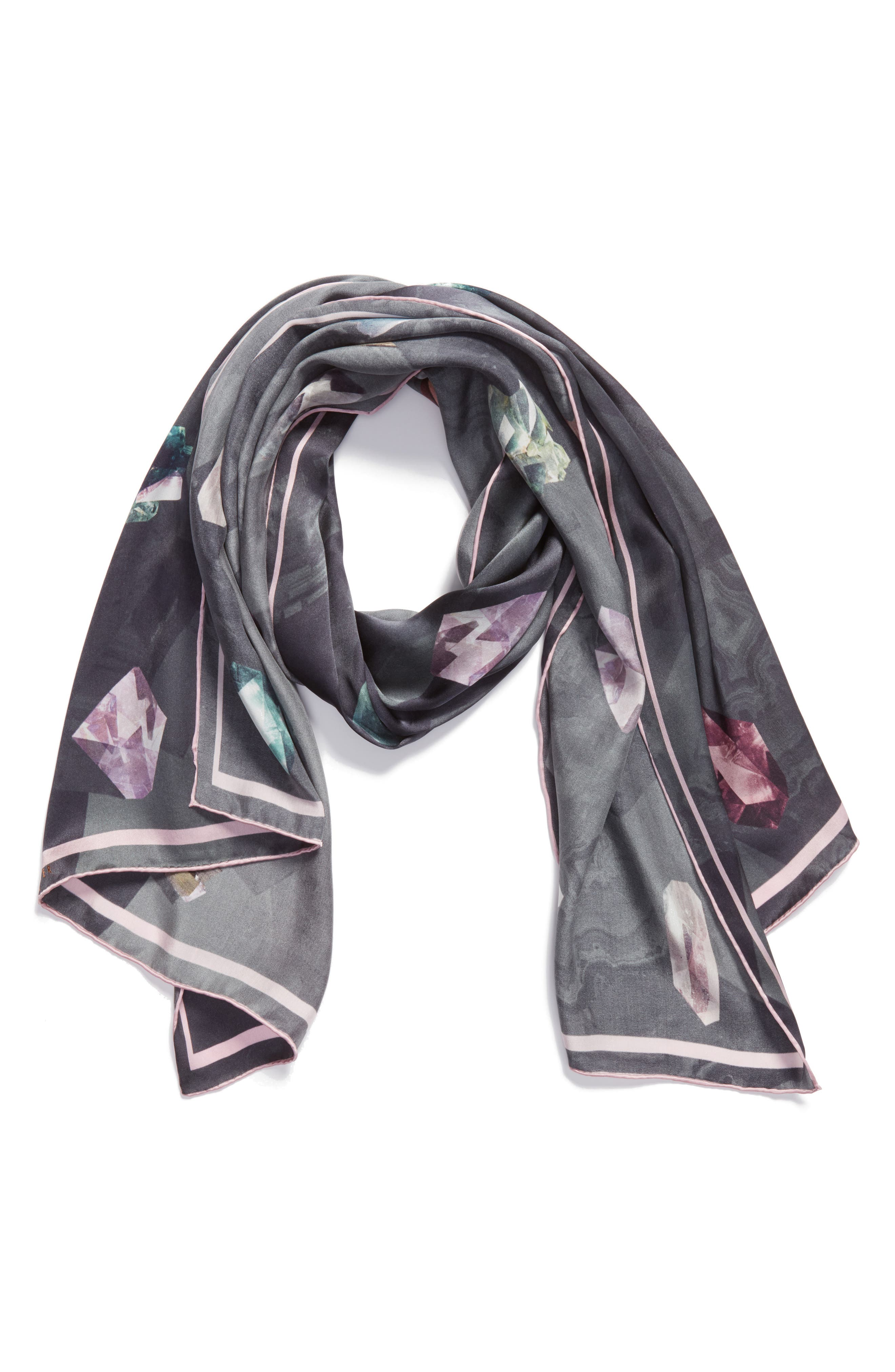 Mirrored Minerals Long Silk Scarf,                             Alternate thumbnail 3, color,                             Grey