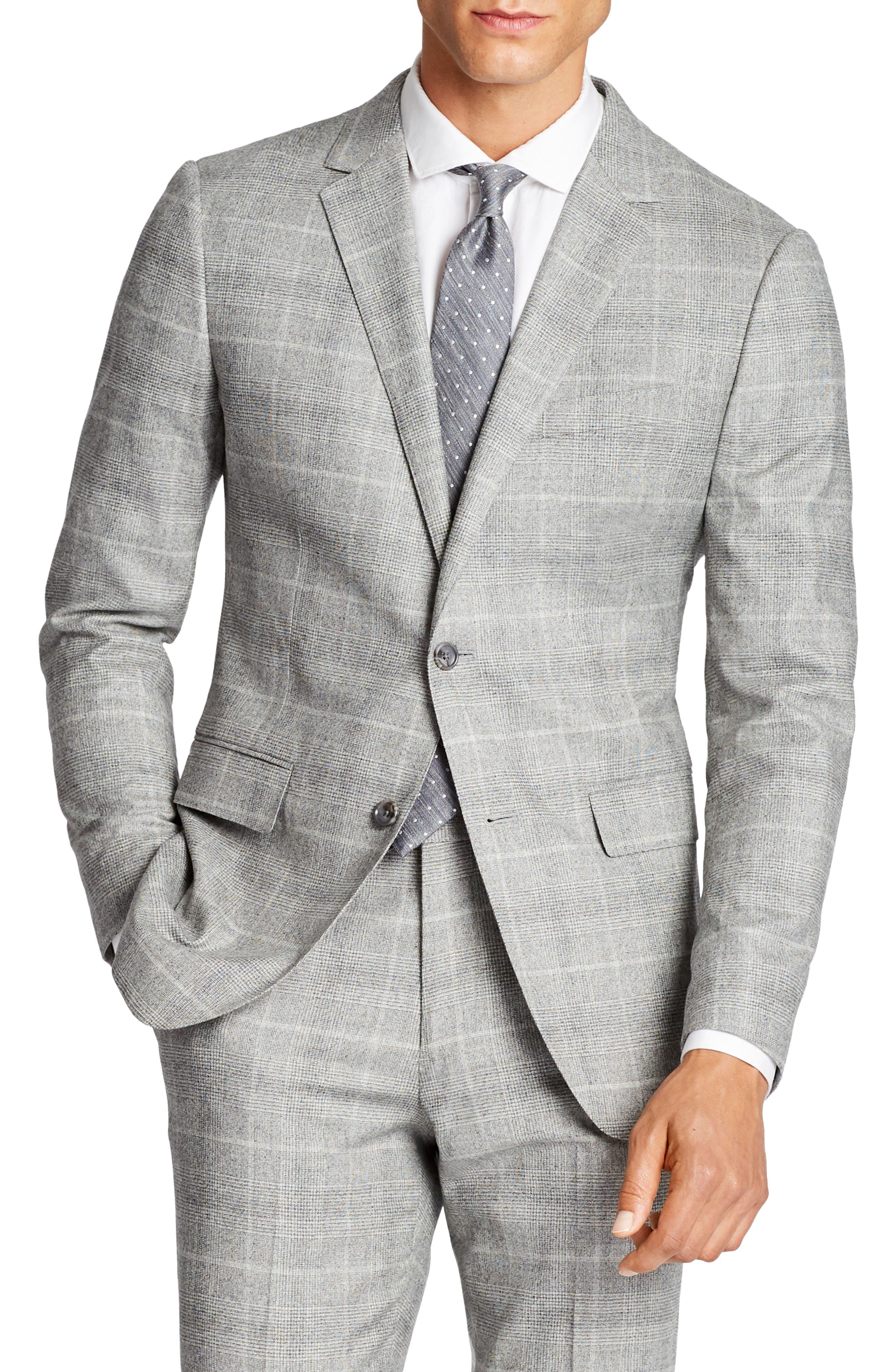 Jetsetter Slim Fit Plaid Stretch Wool Sport Coat,                             Main thumbnail 1, color,                             Light Grey Flannel
