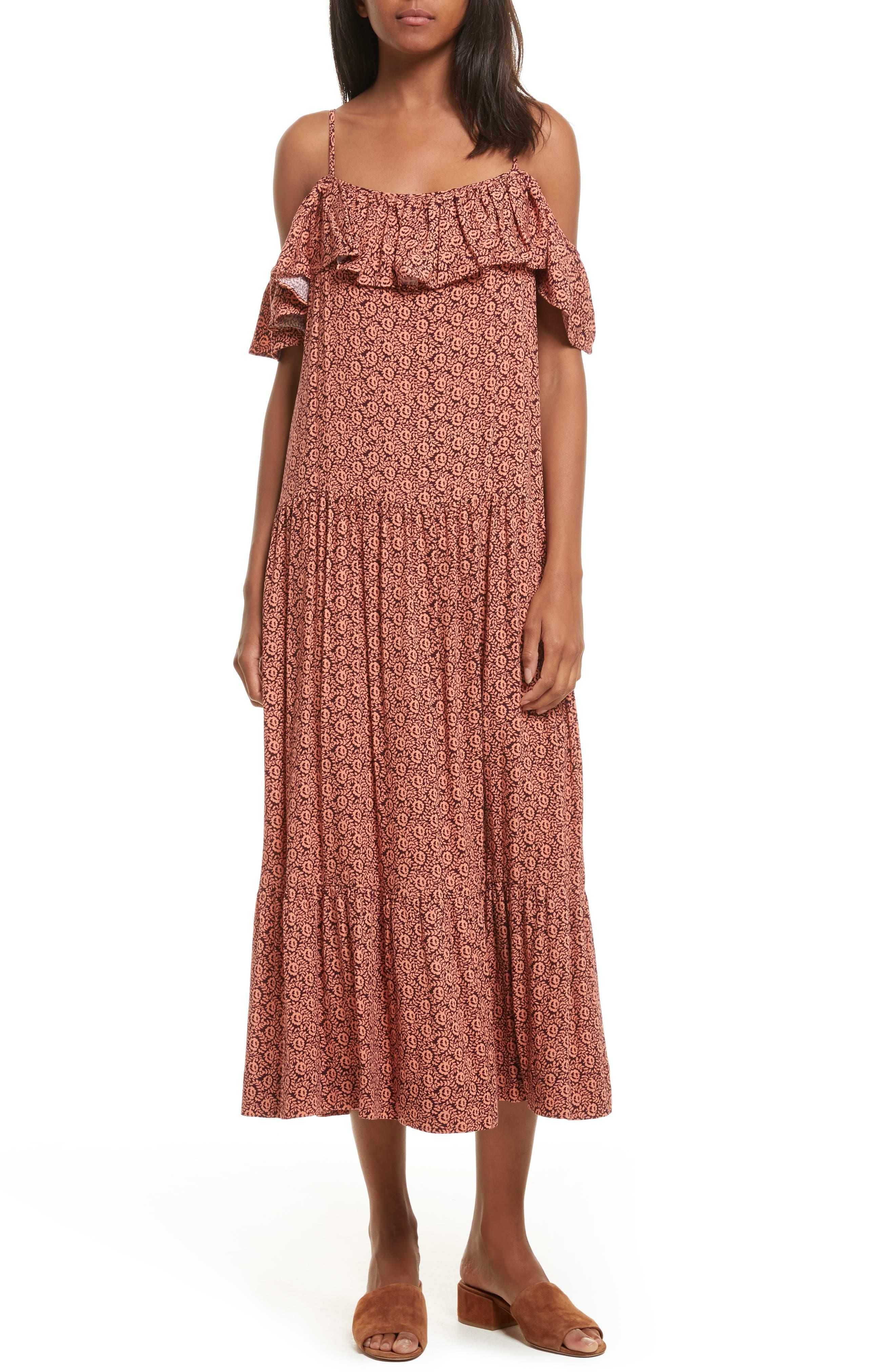 Lapaz Off the Shoulder Midi Dress,                         Main,                         color, Melon