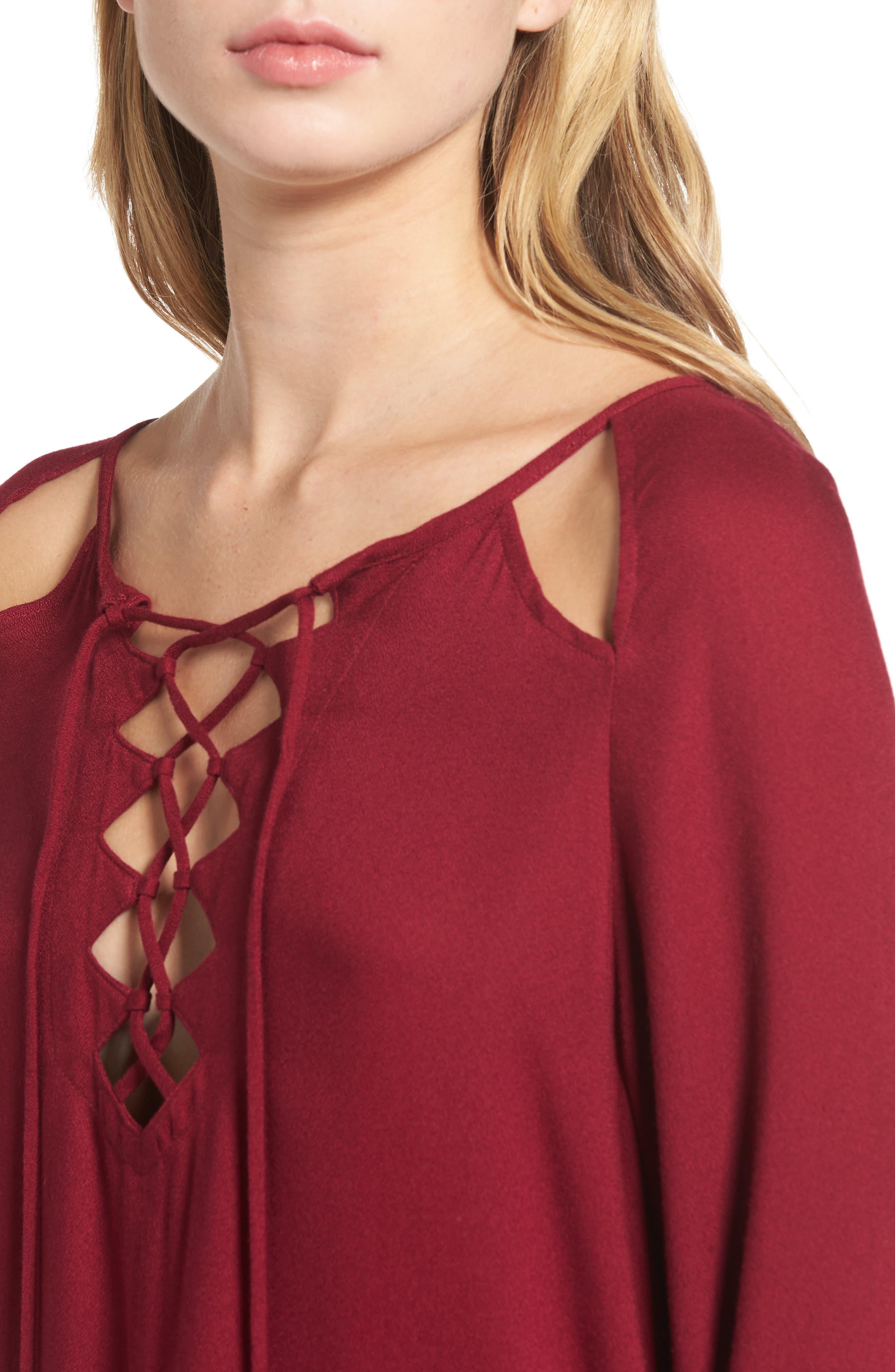 Alternate Image 4  - Ella Moss Stella Cutout Lace-Up Blouse