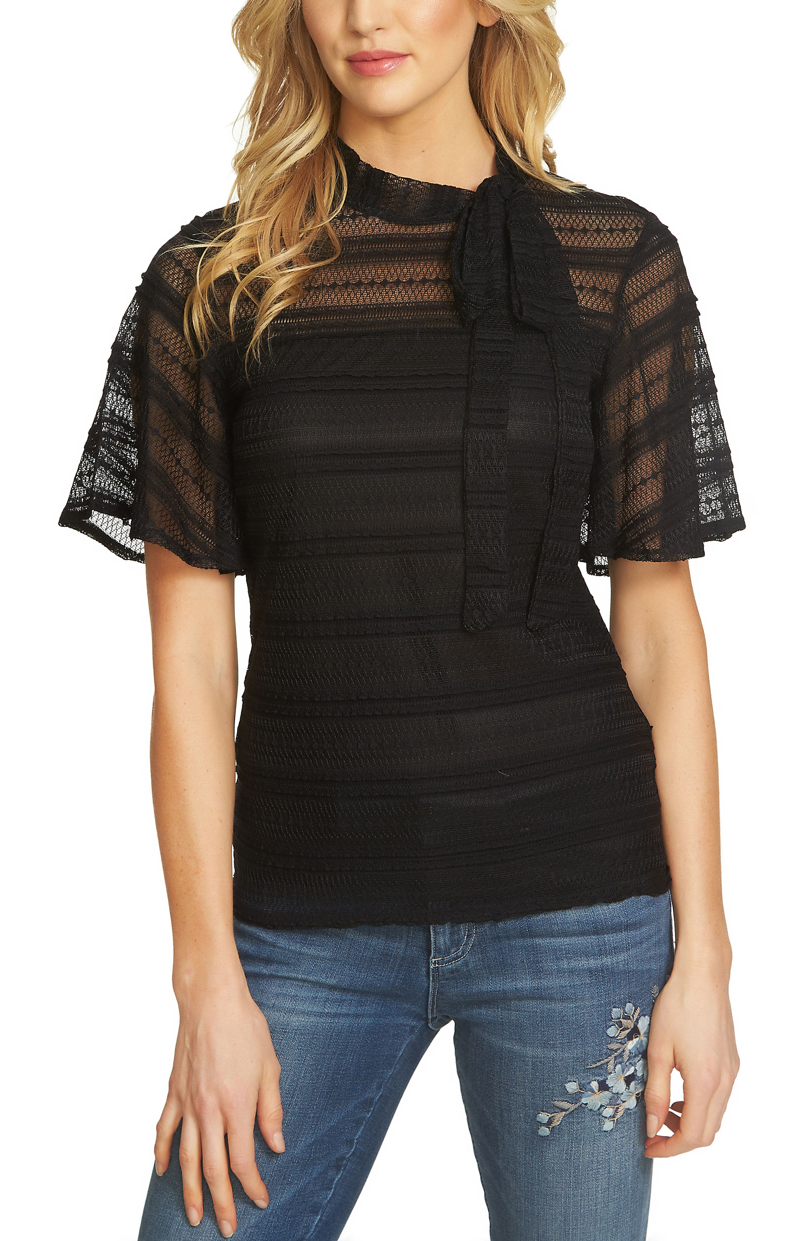Lace Bow-Tie Top,                         Main,                         color, Rich Black
