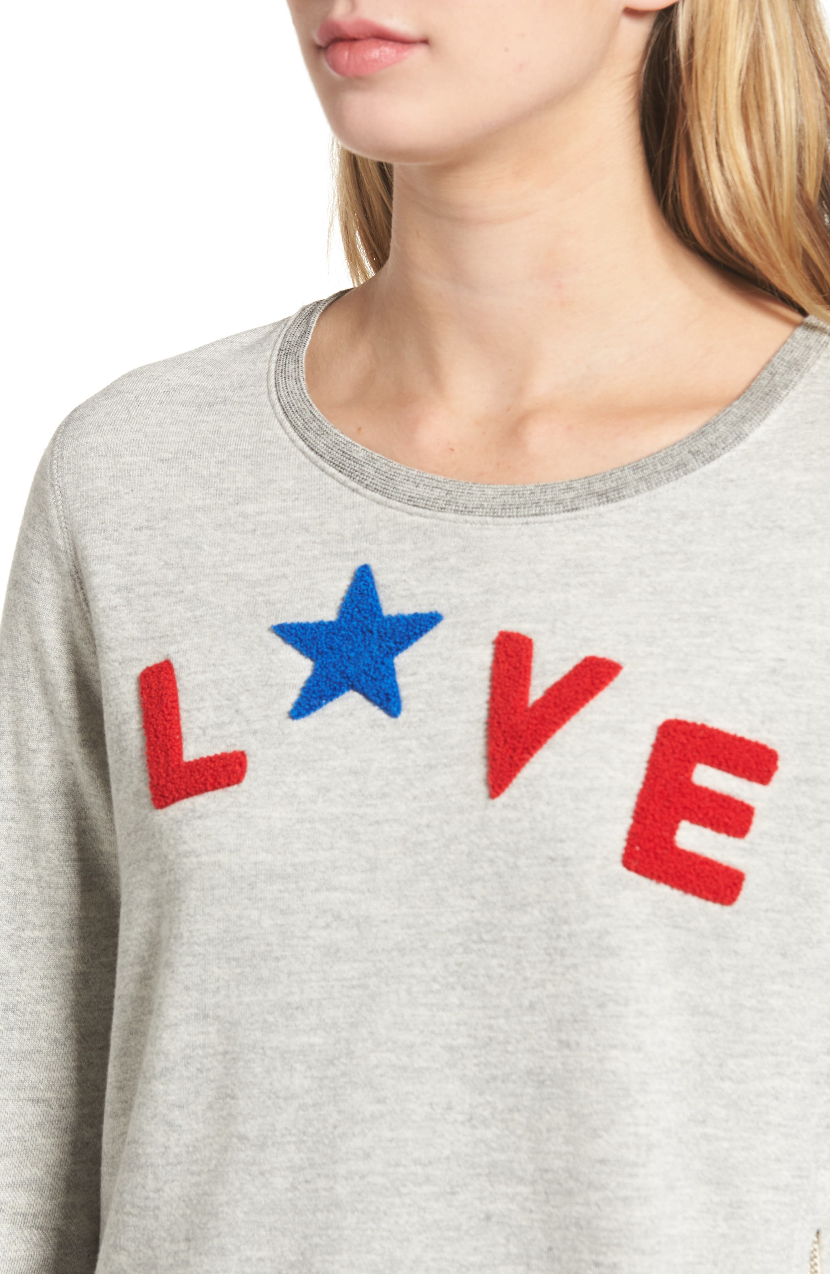 Love Sweatshirt,                             Alternate thumbnail 4, color,                             Heather Grey