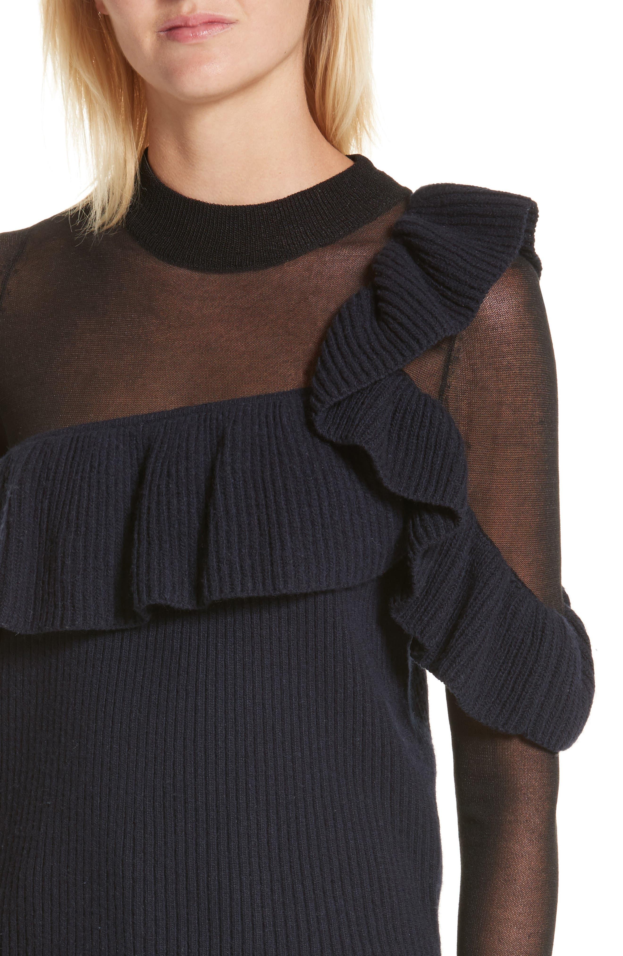 Asymmetrical Frill Illusion Sweater,                             Alternate thumbnail 4, color,                             Blue