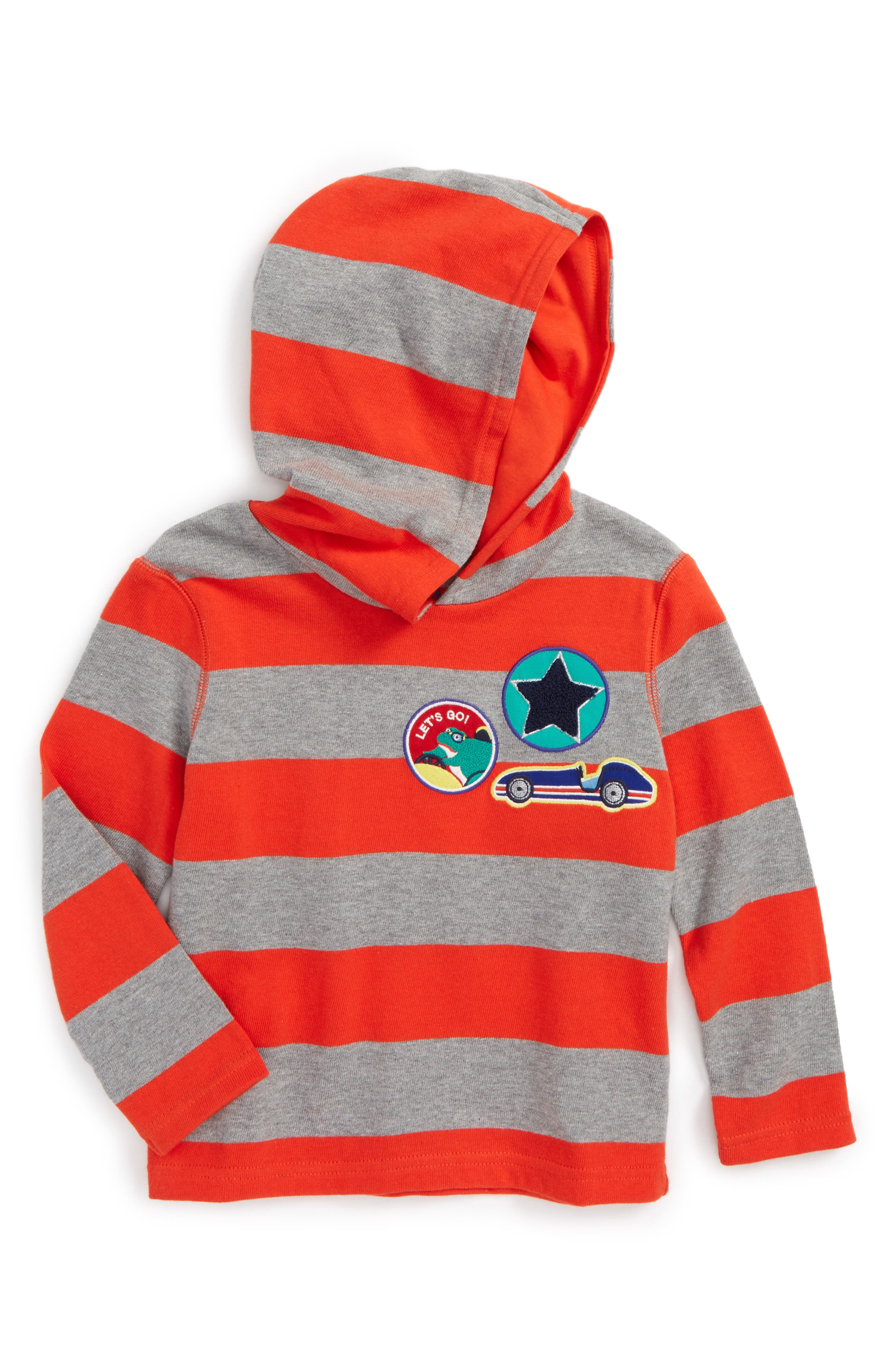 Stripy Patch Hoodie,                         Main,                         color, Ziggy Red/ Grey Marl
