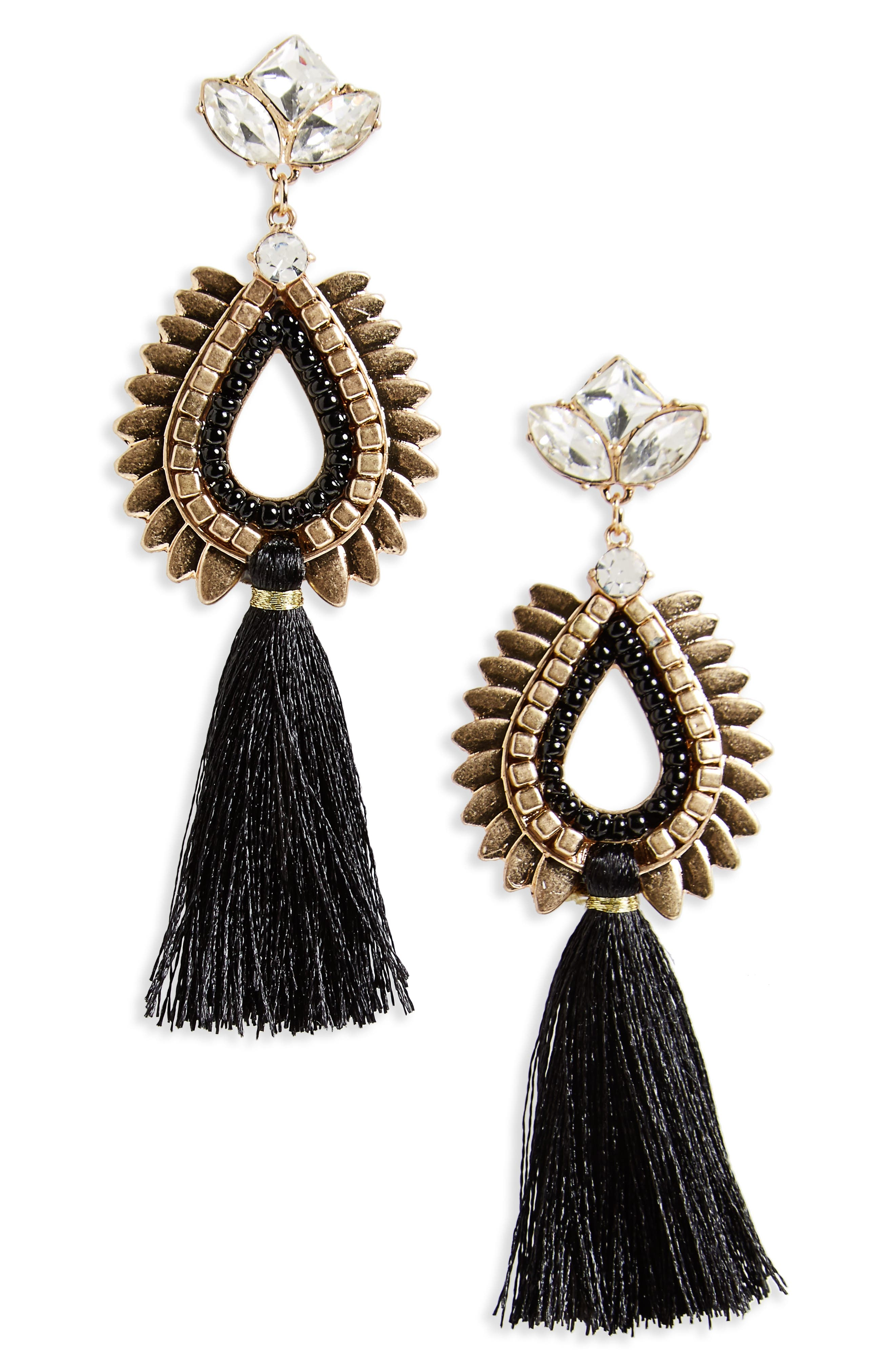 BP. Crystal & Tassel Earrings