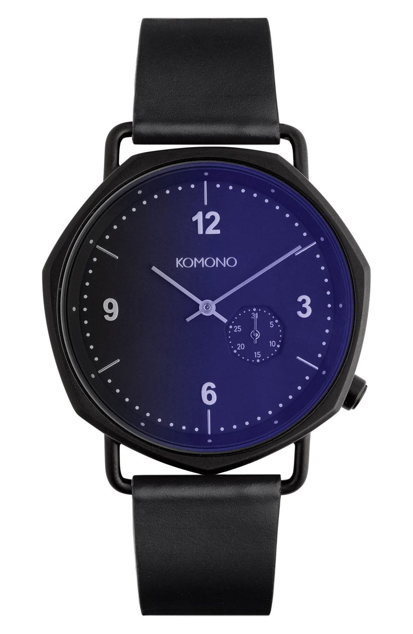 Komono Orson Geo Midnight Leather Strap Watch, 40mm