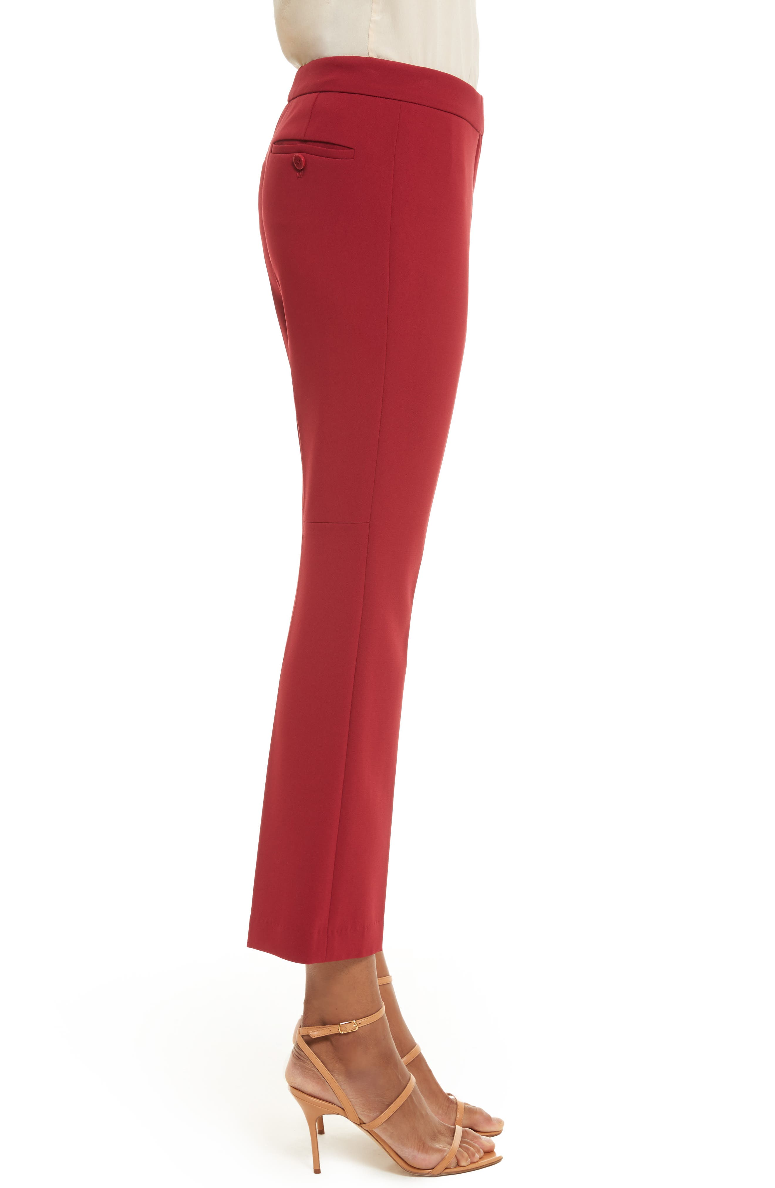 Admiral Crepe Kick Crop Pants,                             Alternate thumbnail 3, color,                             Bright Raspberry