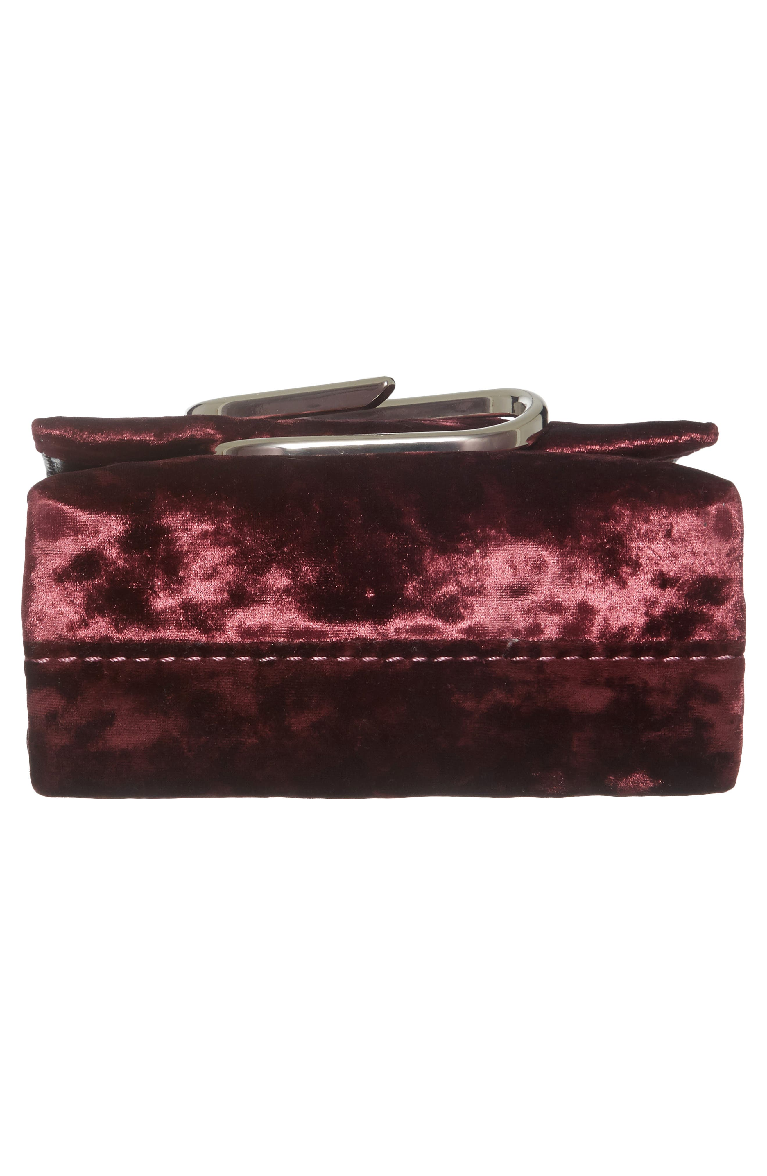 Micro Alix Velvet Crossbody Bag,                             Alternate thumbnail 6, color,                             Syrah