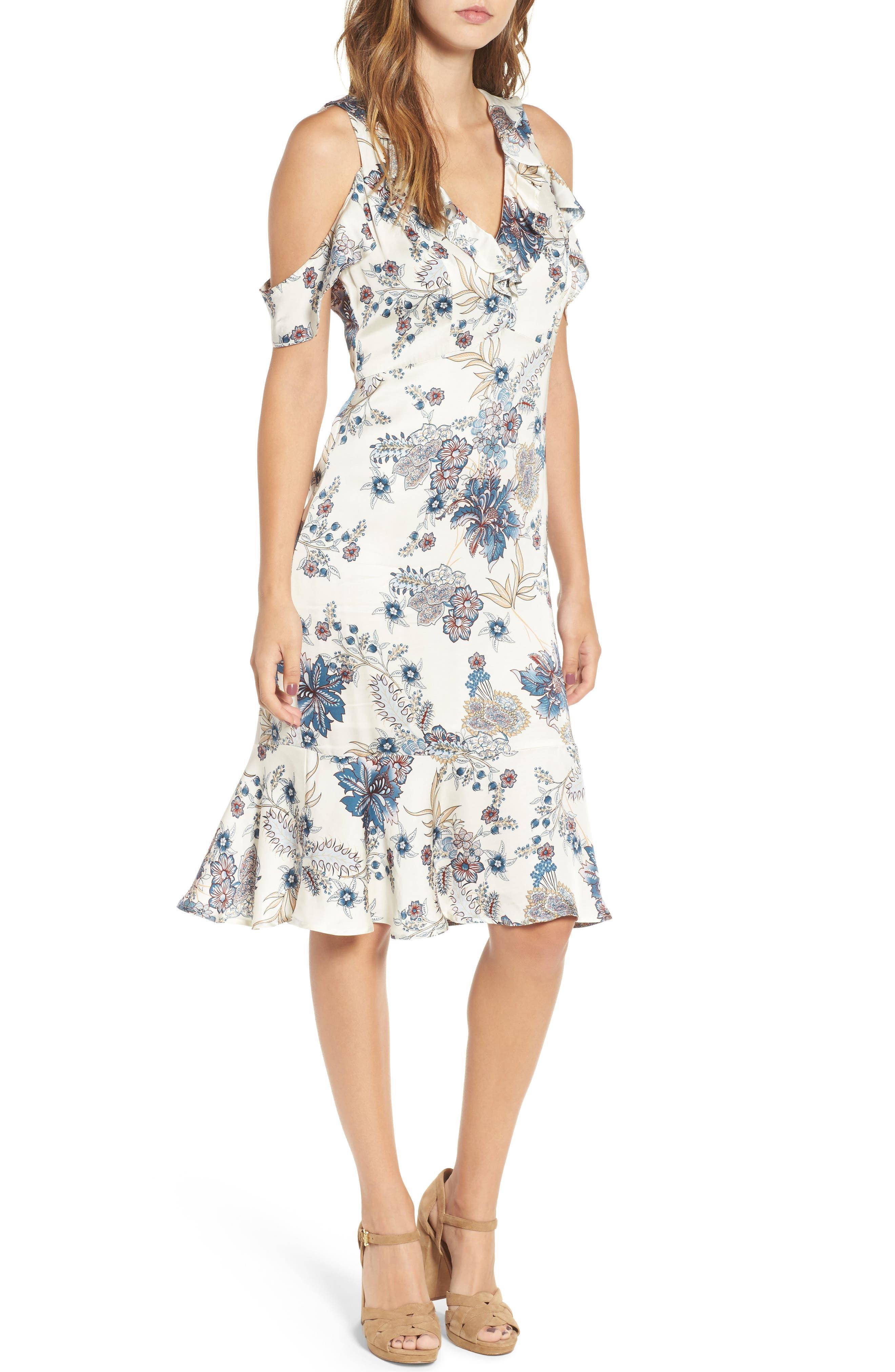 Print Cold Shoulder Dress,                         Main,                         color, Pearl