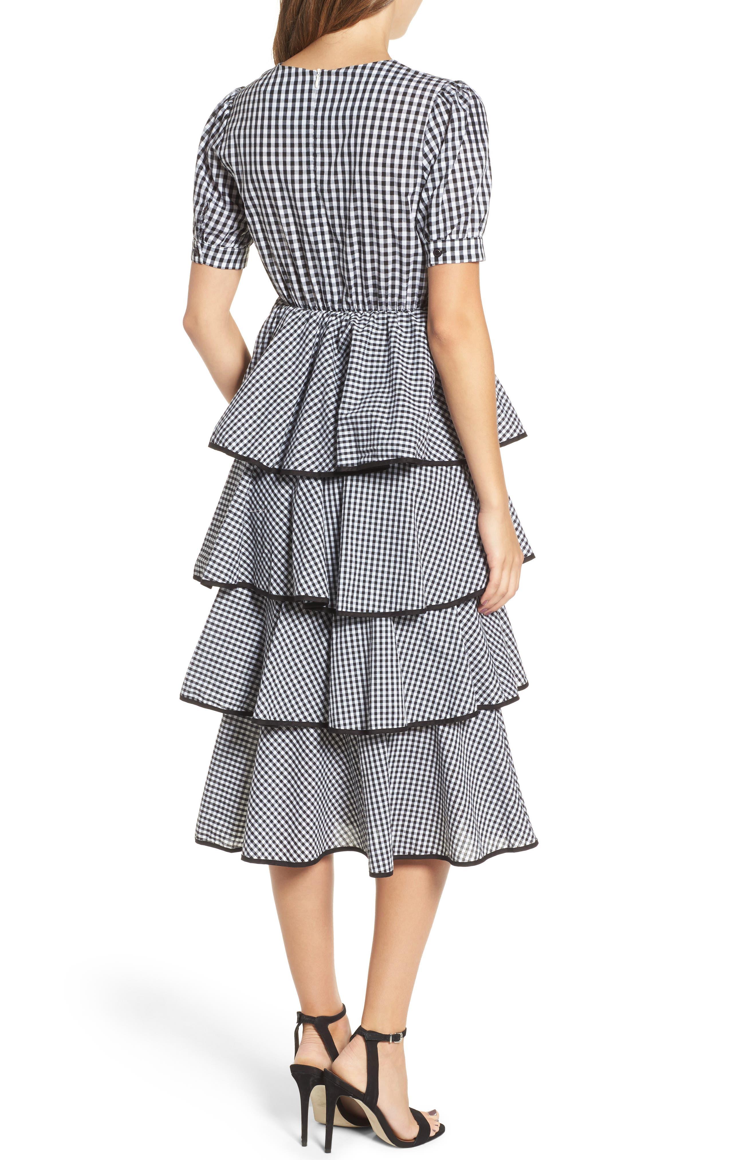 Beauty Buzz Midi Dress,                             Alternate thumbnail 2, color,                             Checkered Black