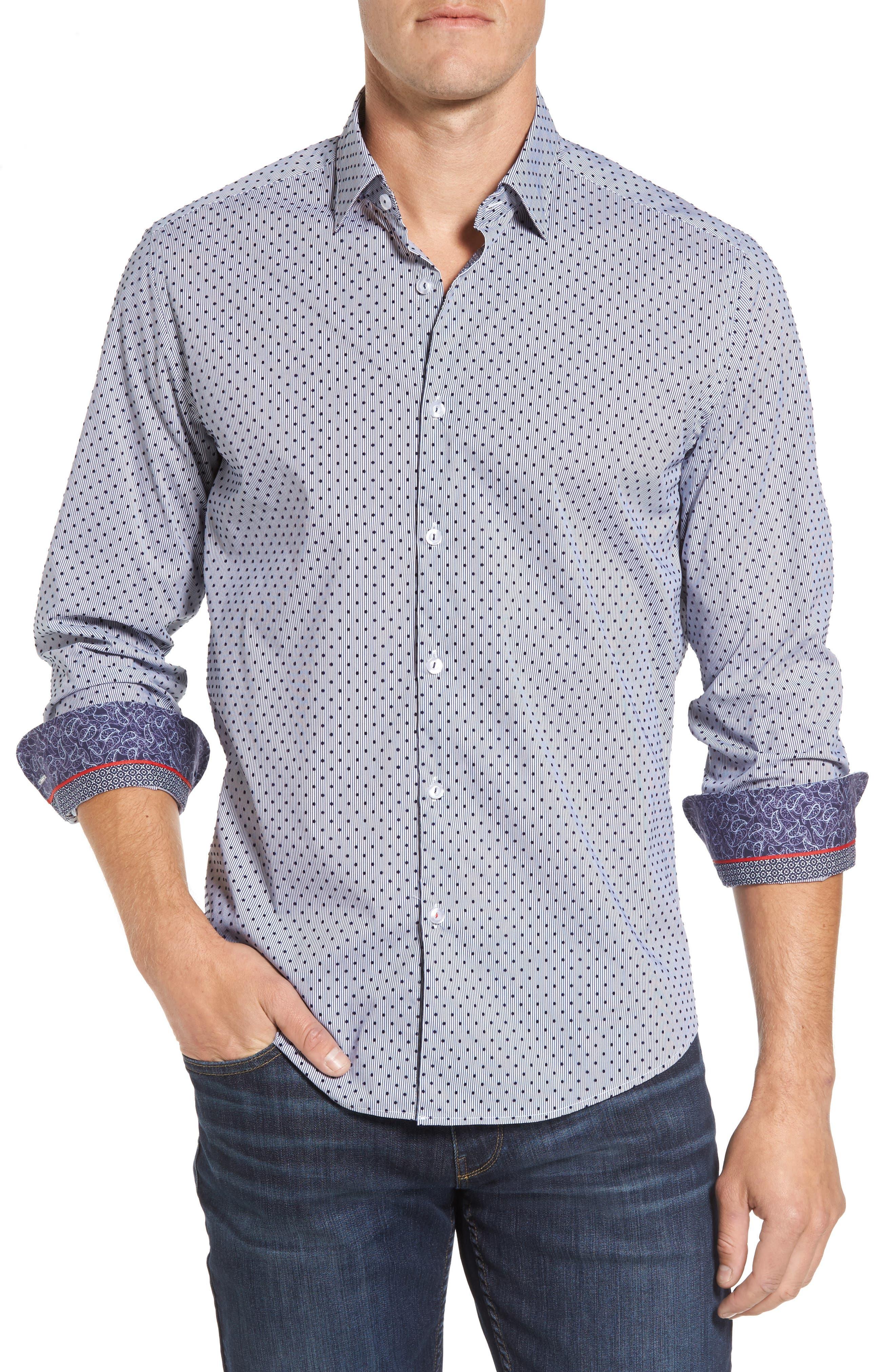 Main Image - Stone Rose Slim Fit Flocked Dot Stripe Sport Shirt