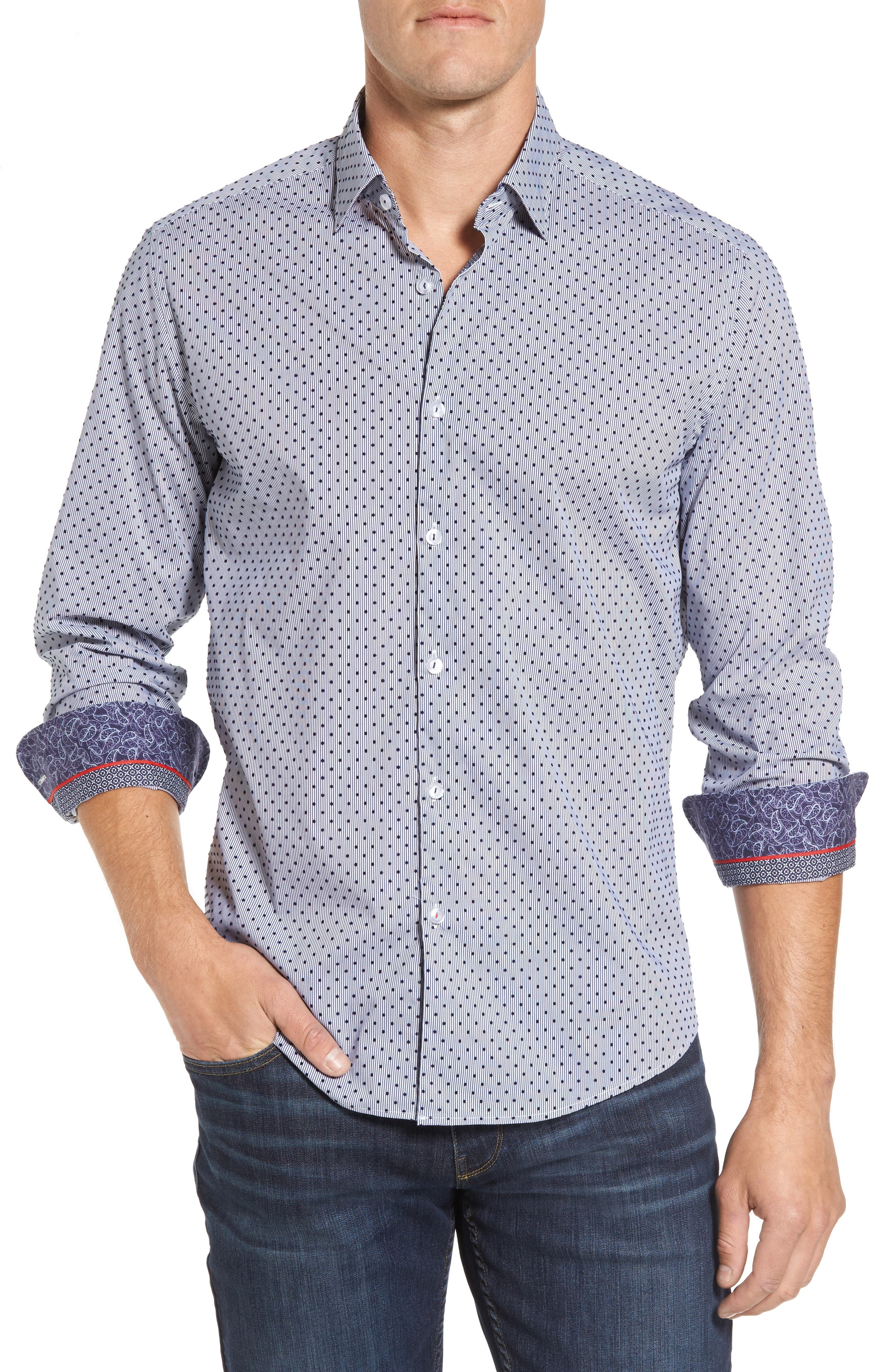 Slim Fit Flocked Dot Stripe Sport Shirt,                         Main,                         color, Navy
