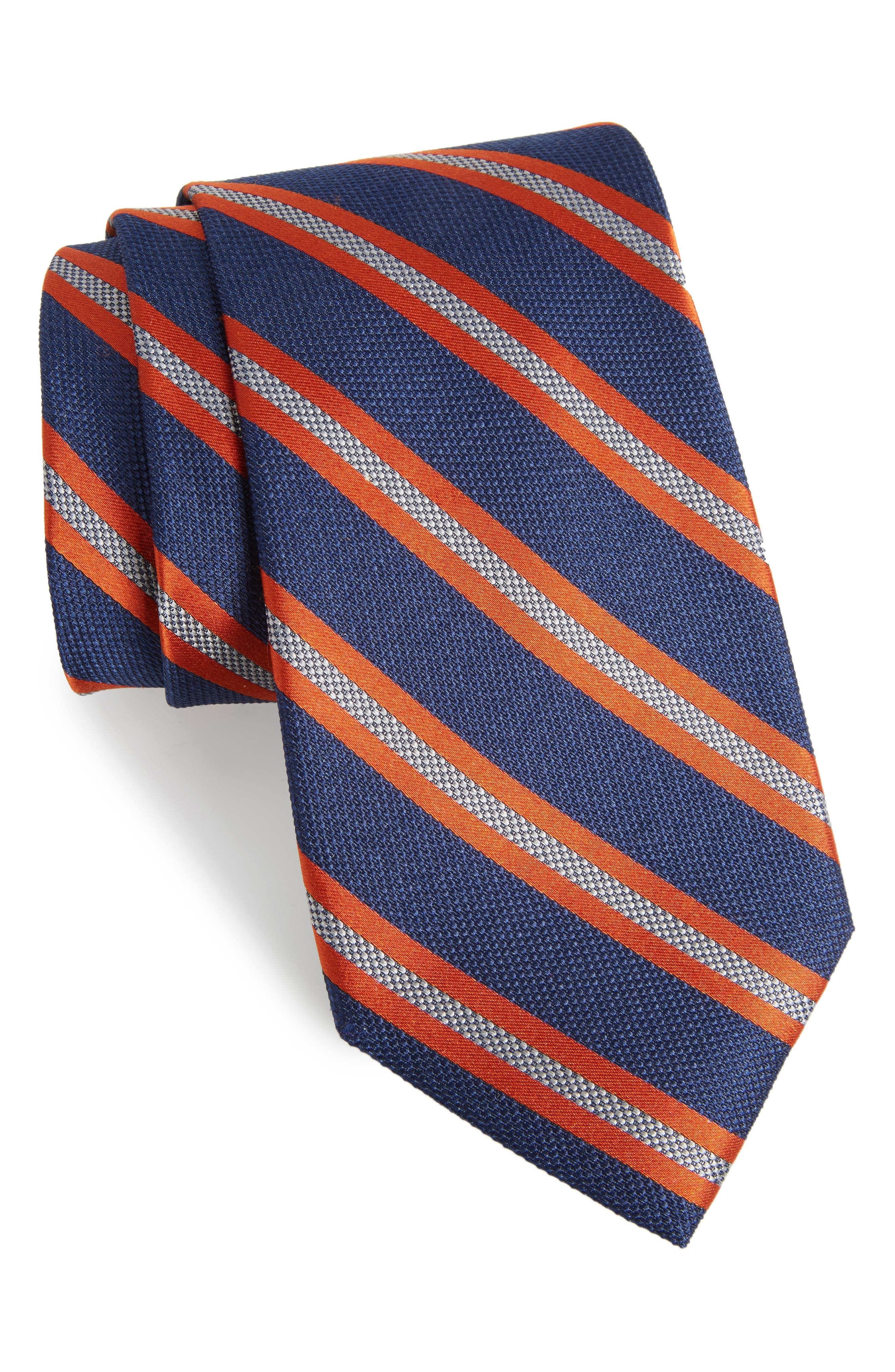Oxford Stripe Silk Tie,                         Main,                         color, Navy