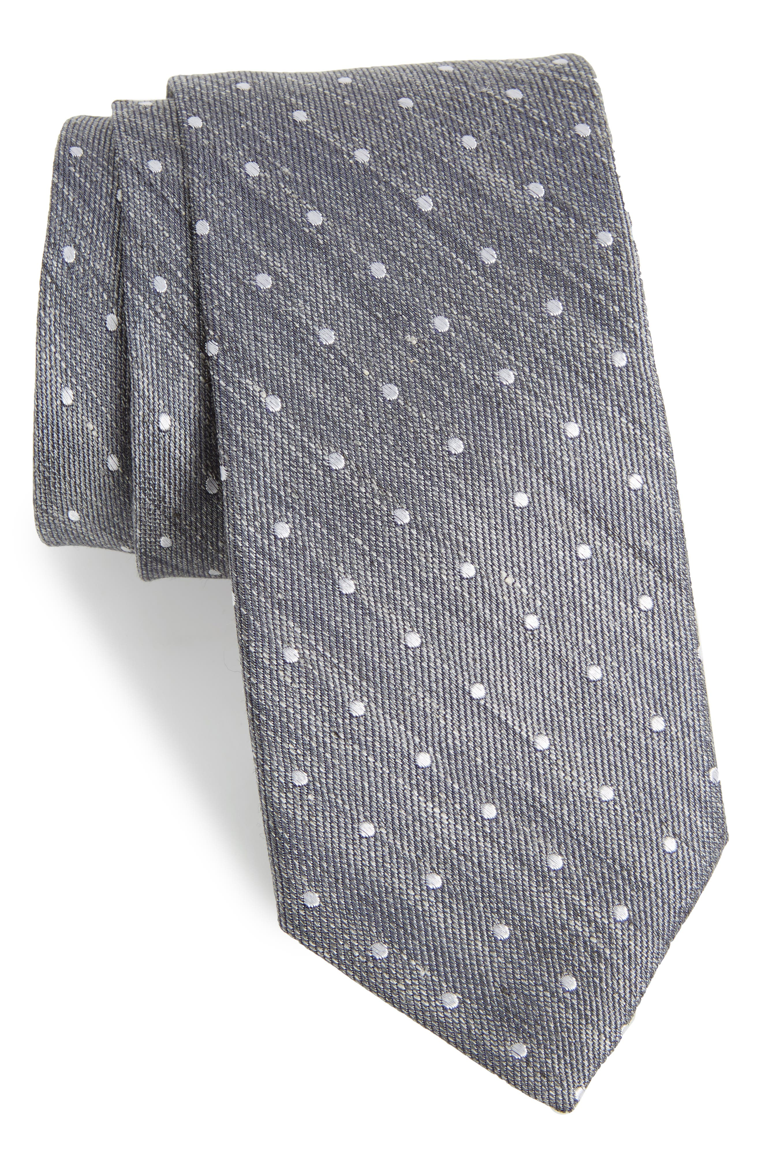 Dot Silk & Linen Tie,                             Main thumbnail 1, color,                             Silk Linen Dot
