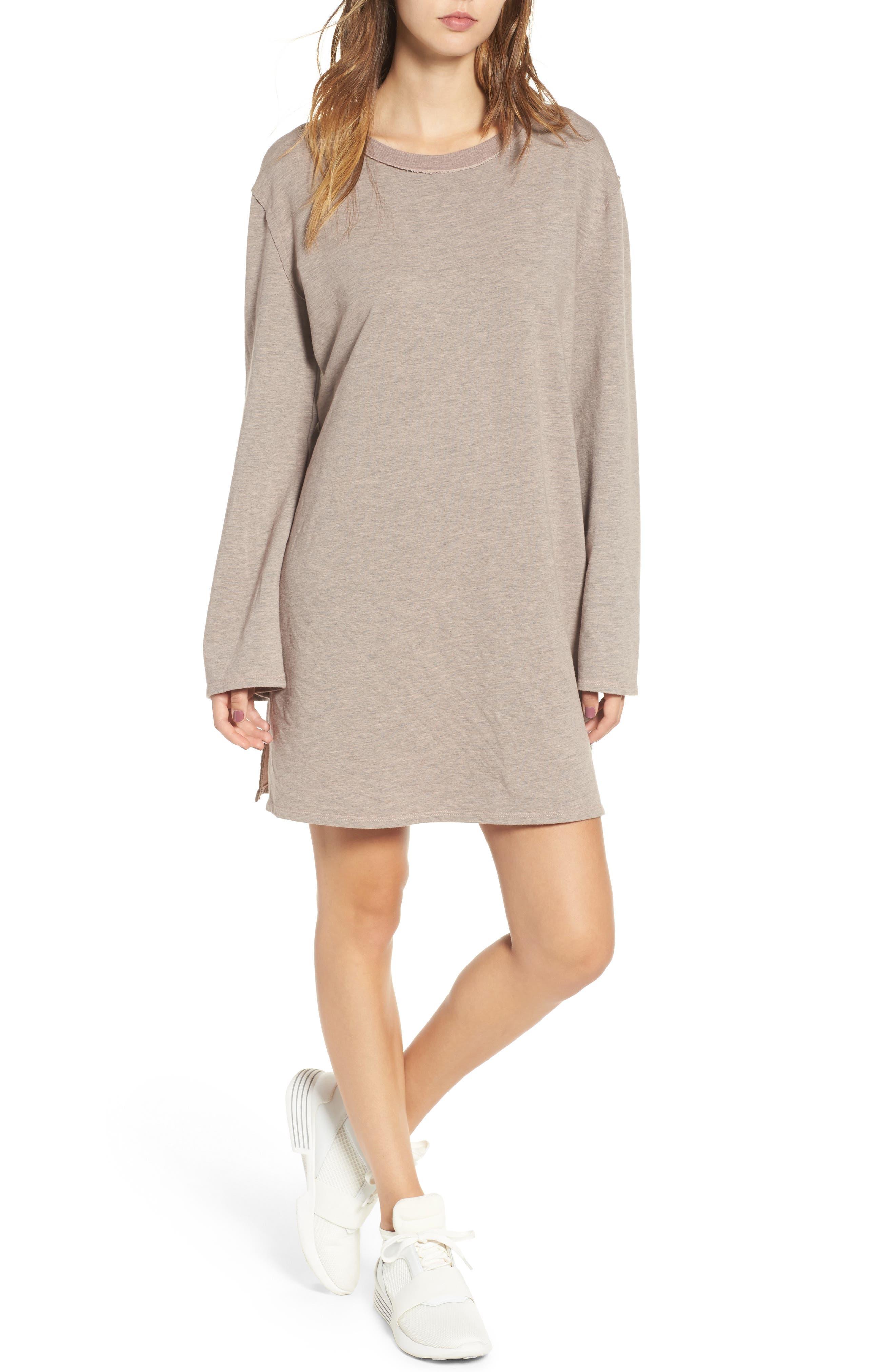 Low Back Sweatshirt Dress,                         Main,                         color, Shadow Pink