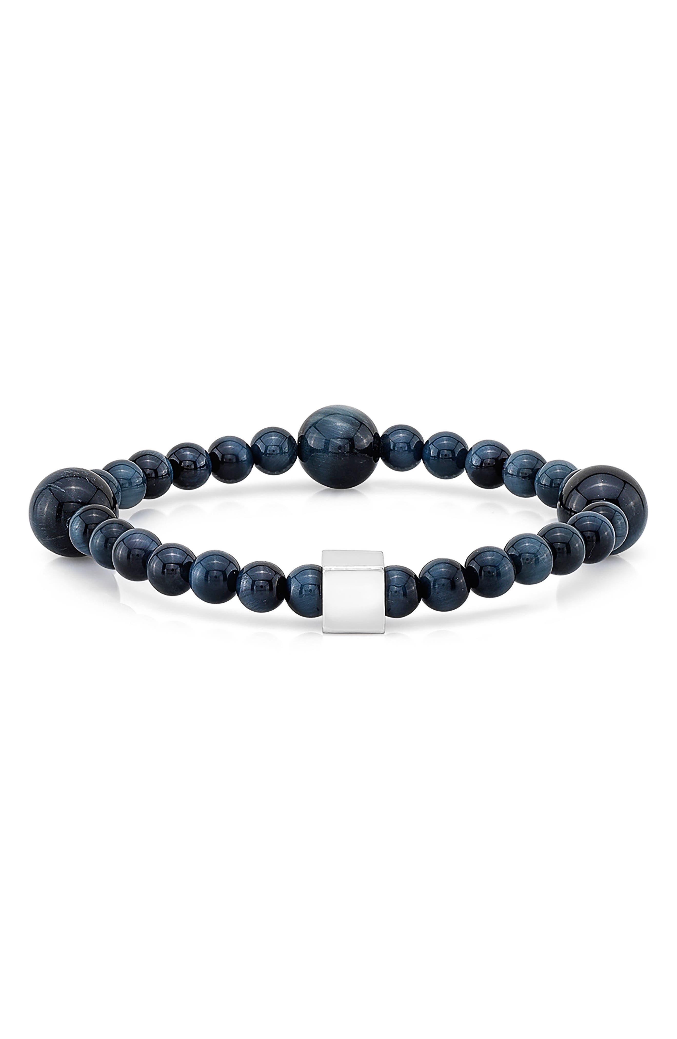Blue Tiger's Eye Bead Bracelet,                         Main,                         color, Blue