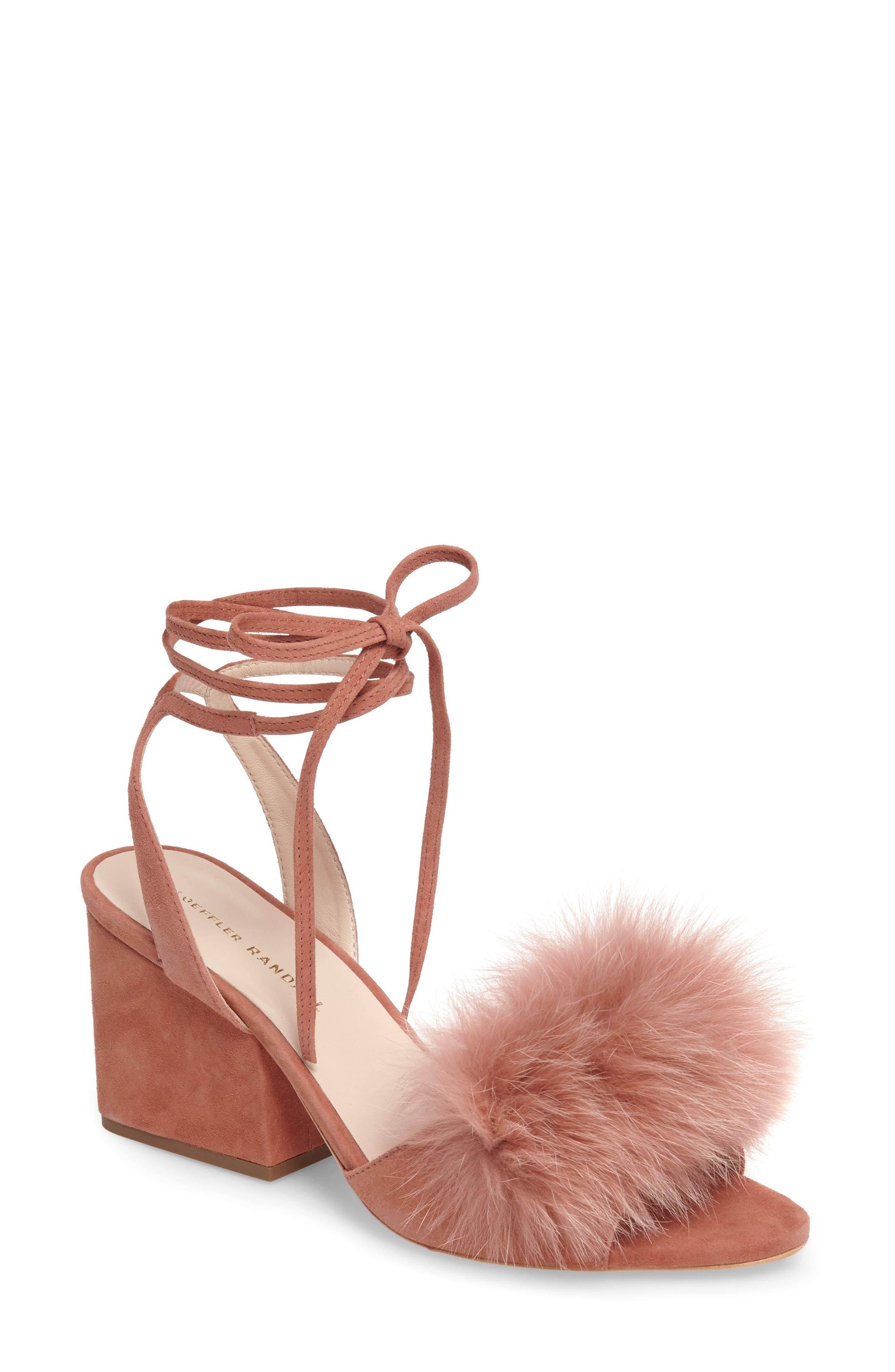 Main Image - Loeffler Randall Nicky Genuine Fox Fur Ankle Wrap Sandal (Women)