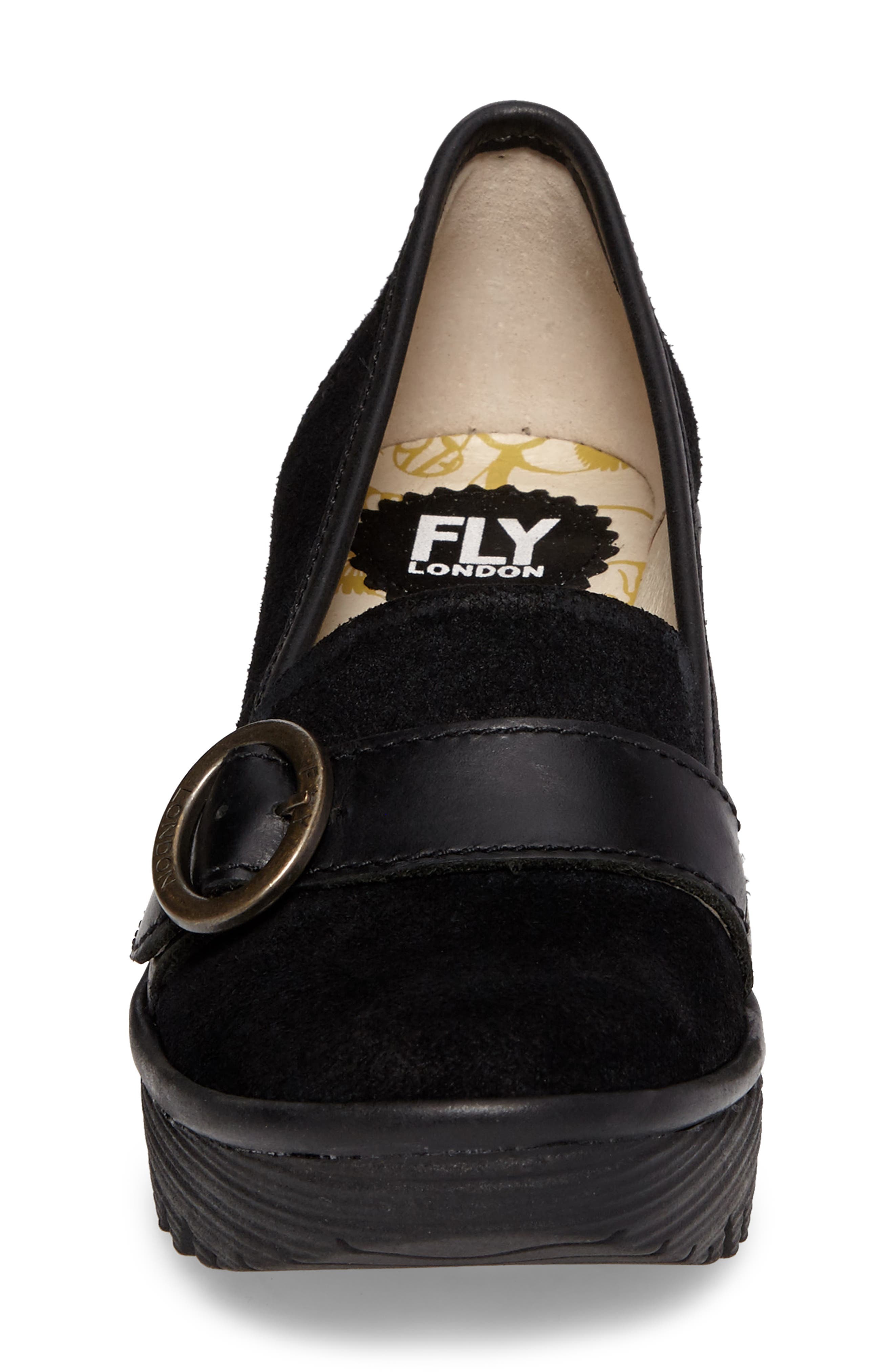 Yond Wedge,                             Alternate thumbnail 4, color,                             Black Suede