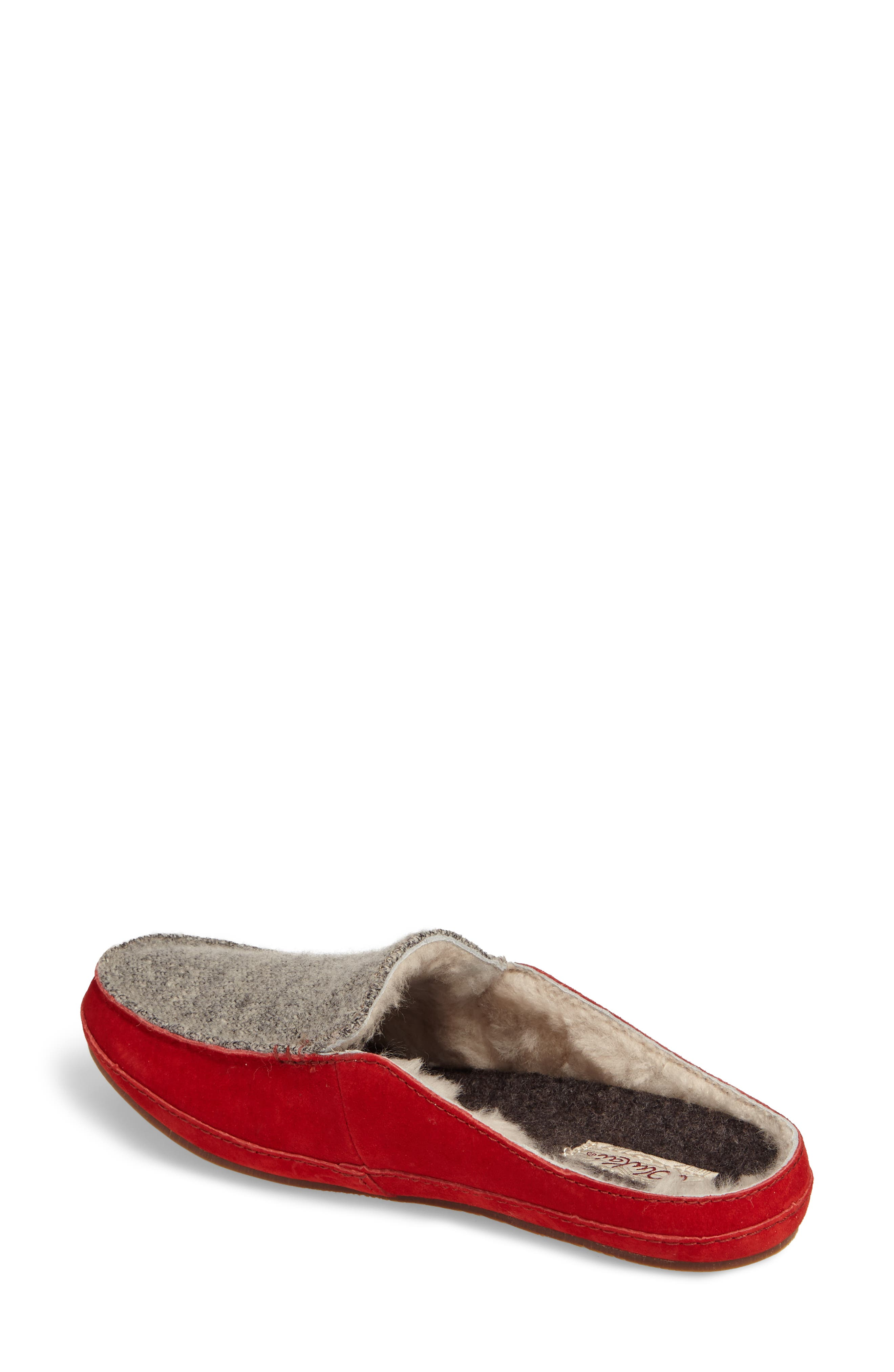 Alaula Genuine Shearling Lined Slipper,                             Alternate thumbnail 2, color,                             Cooler Grey/ Red Mud Leather