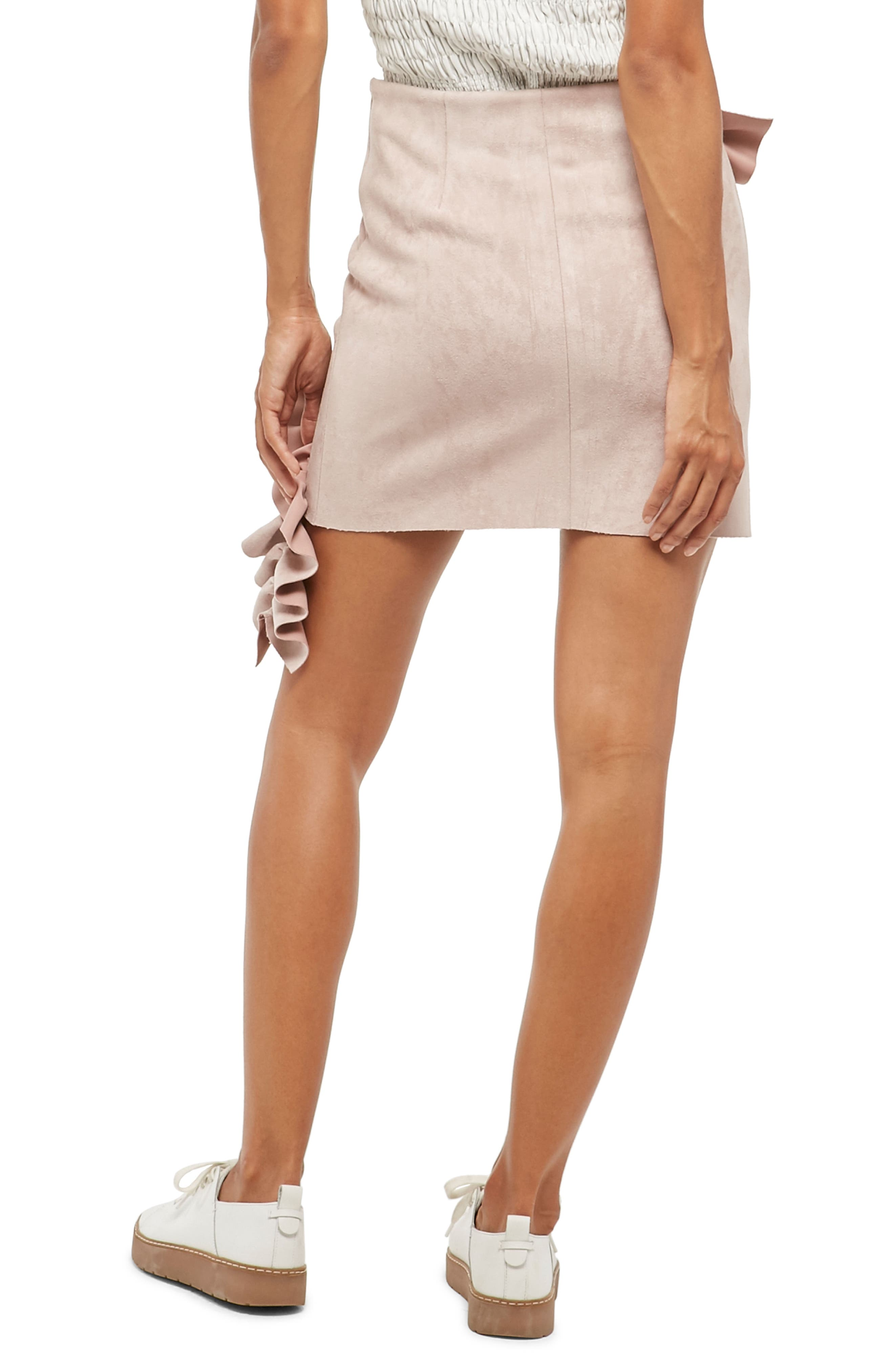 Alpha & Omeda Faux Suede Ruffle Skirt,                             Alternate thumbnail 2, color,                             Mauve
