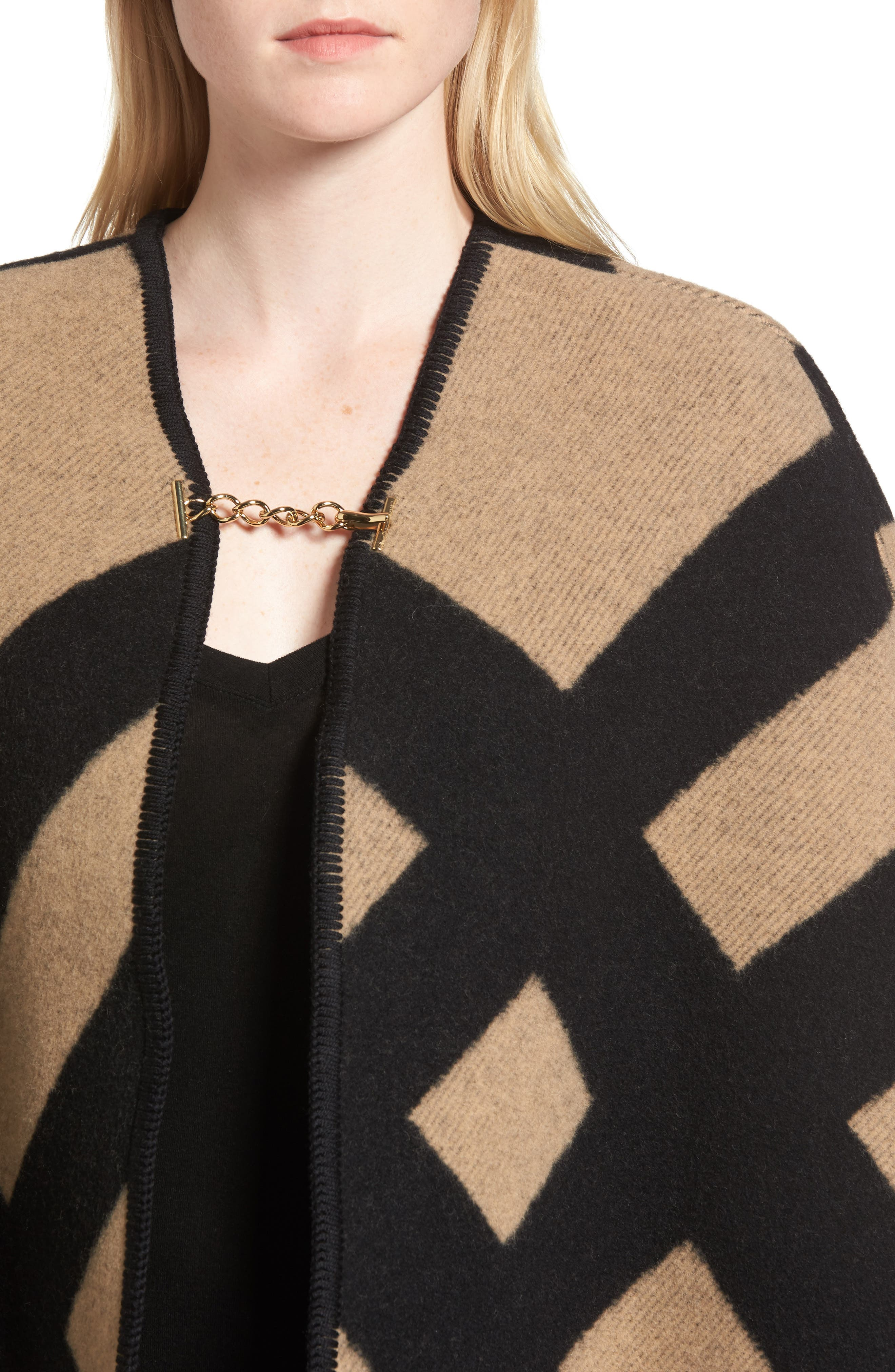 Blanket Check Wool & Cashmere Poncho,                             Alternate thumbnail 4, color,                             Camel/ Black