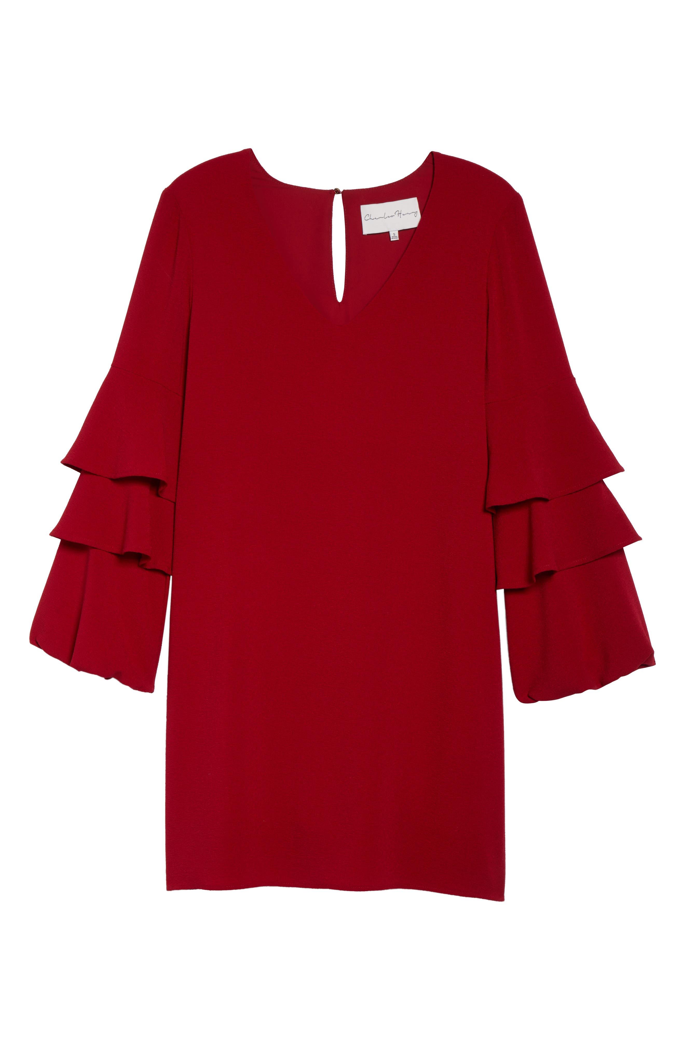 Alternate Image 6  - Charles Henry Tiered Ruffle Sleeve Dress (Regular & Petite)