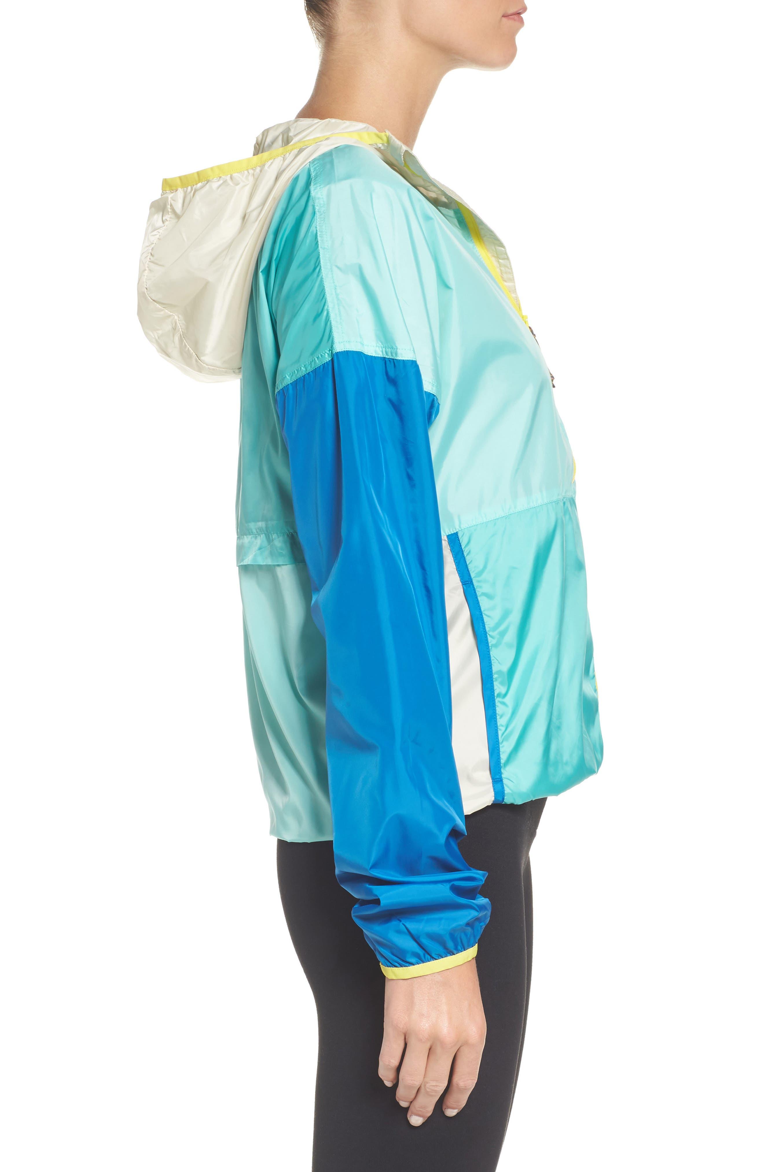 Teca Packable Water Resistant Windbreaker Jacket,                             Alternate thumbnail 3, color,                             Blue Crush
