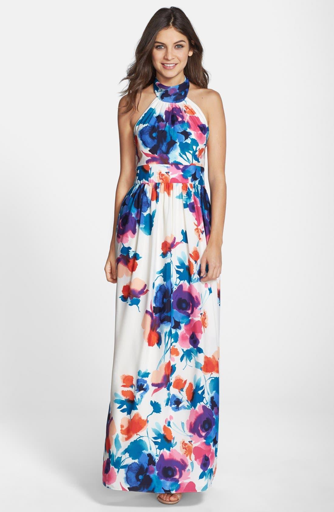 Alternate Image 1 Selected - Eliza J Floral Print Halter Maxi Dress