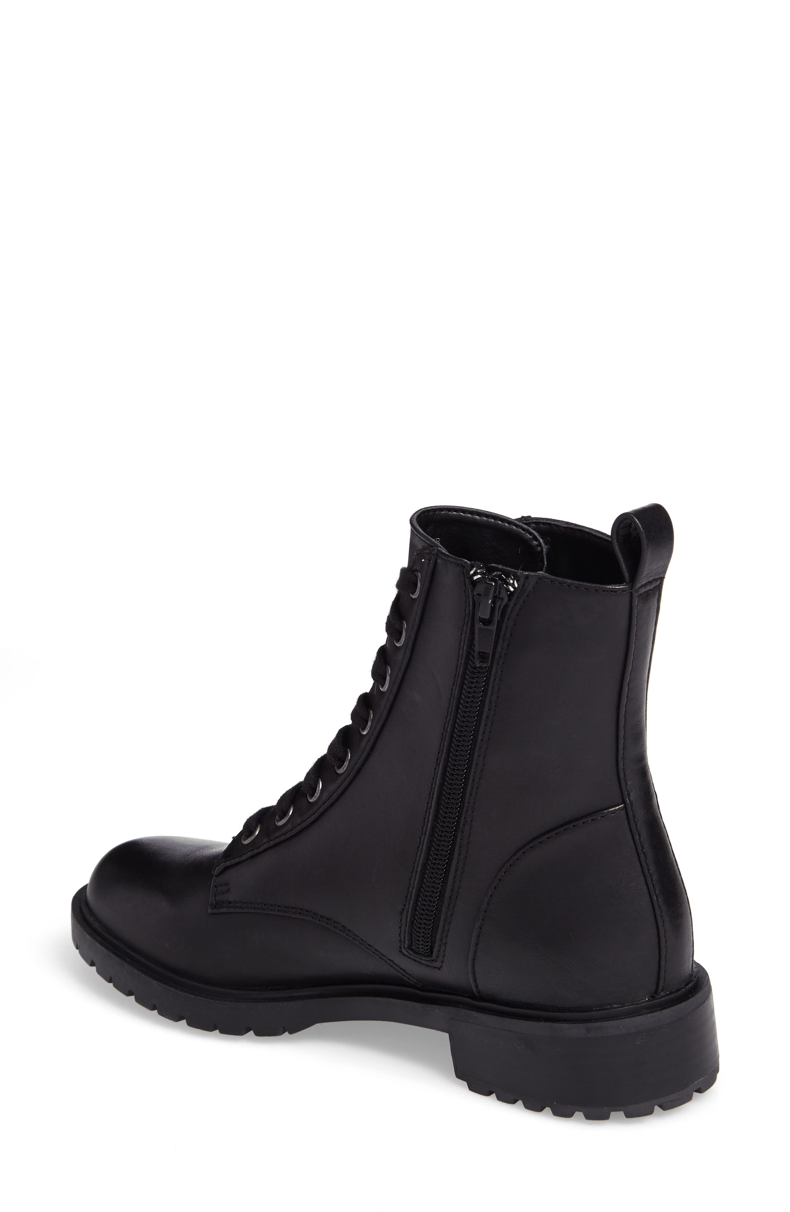 Officer Combat Boot,                             Alternate thumbnail 2, color,                             Black Leather