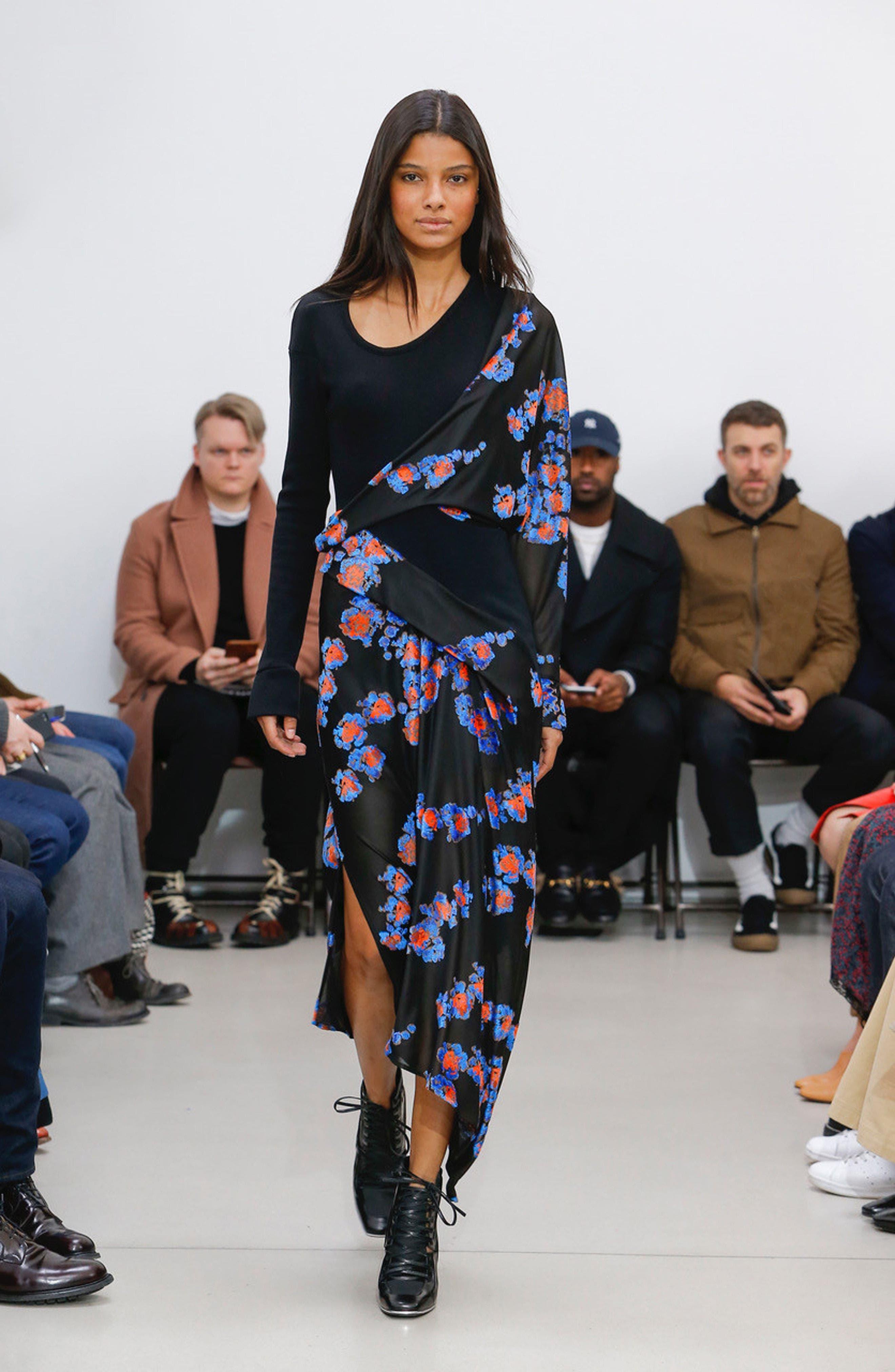Alternate Image 2  - Atlein Jersey Jacquard Draped Maxi Dress