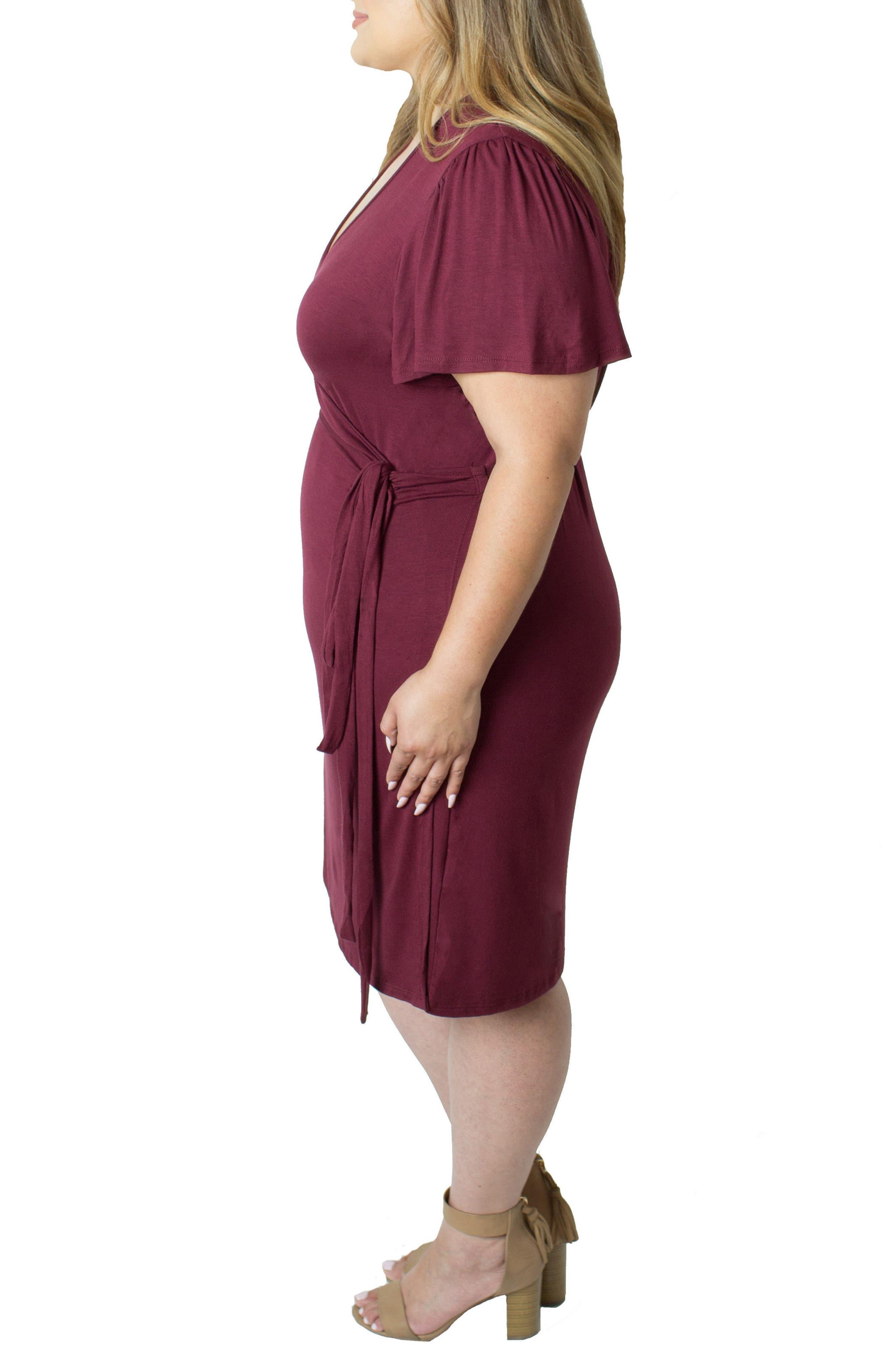 Wrap Nursing Dress,                             Alternate thumbnail 3, color,                             Red