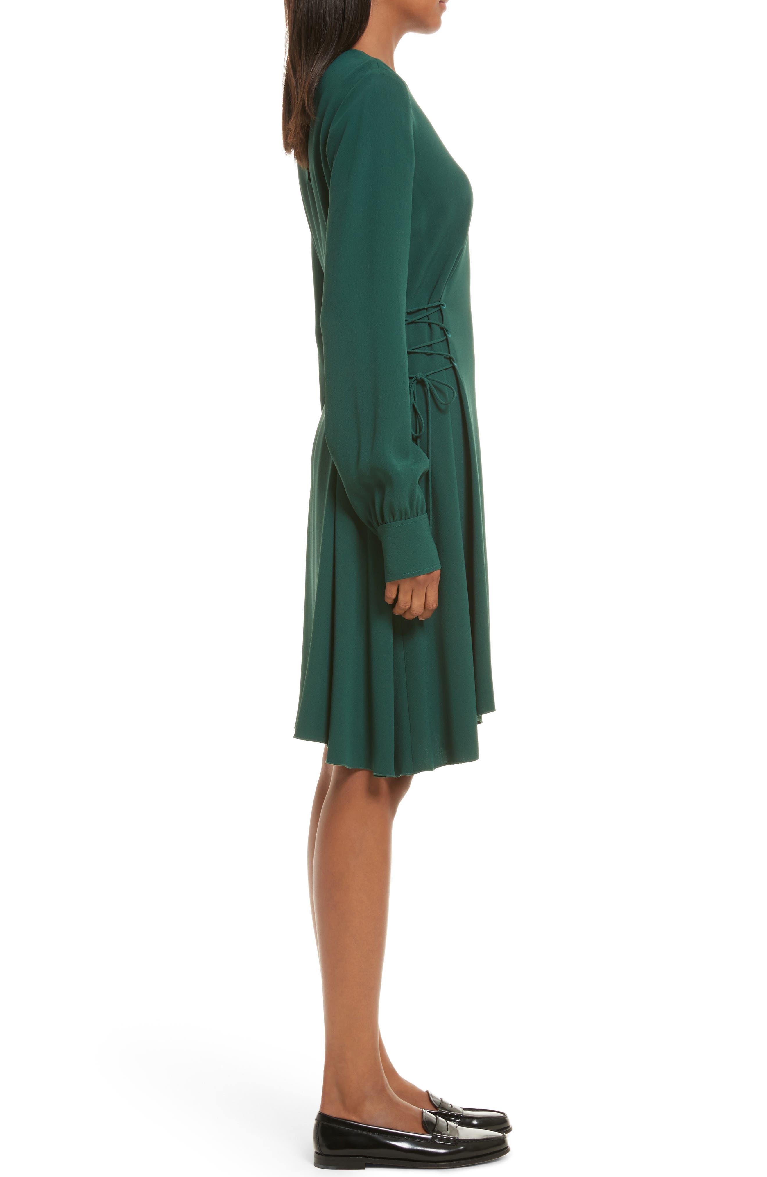 Kensington Lace-Up A-Line Dress,                             Alternate thumbnail 3, color,                             Bright Hunter