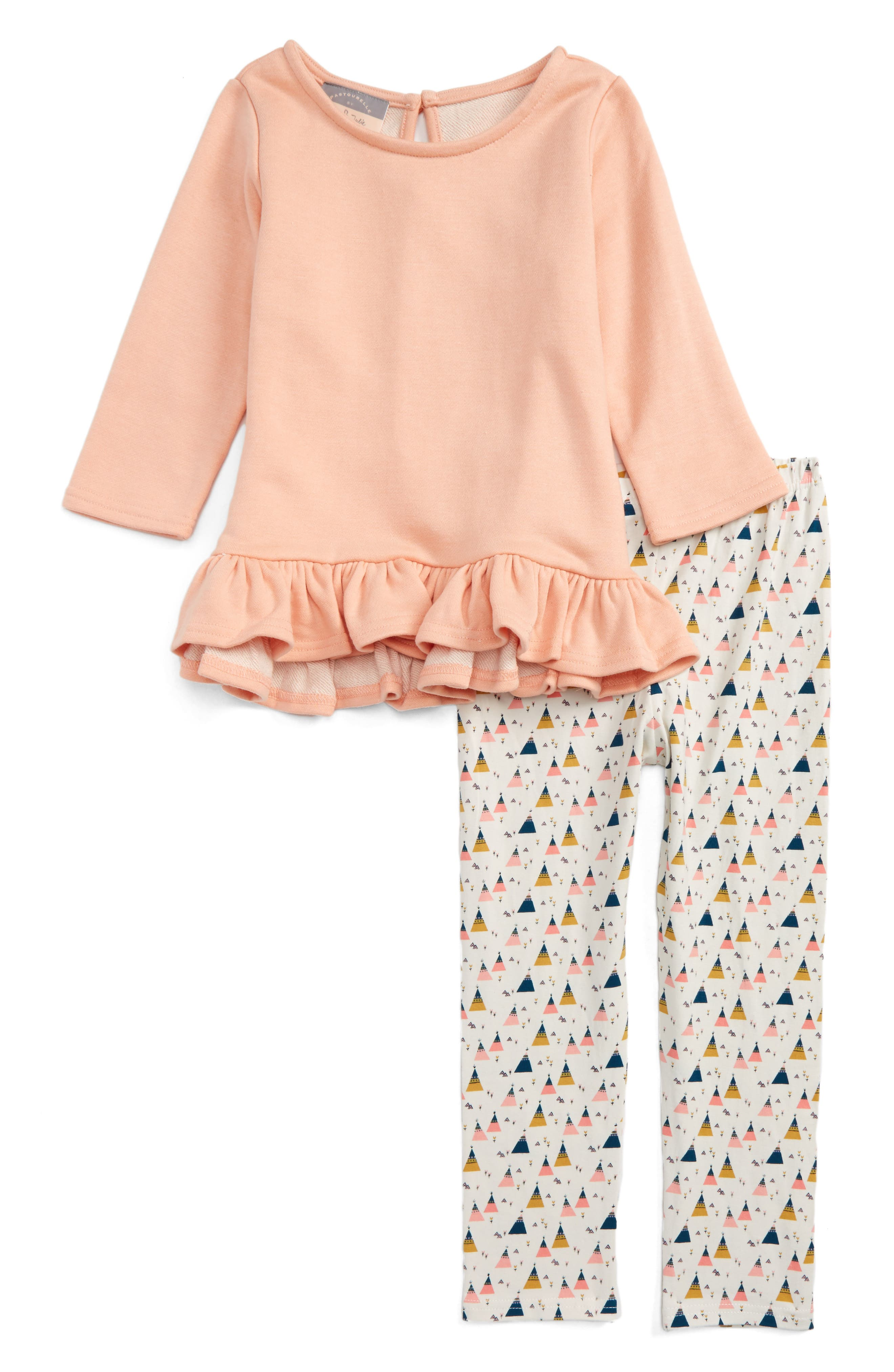 Pastourelle by Pippa and Julie Dress & Leggings Set,                         Main,                         color, Peach