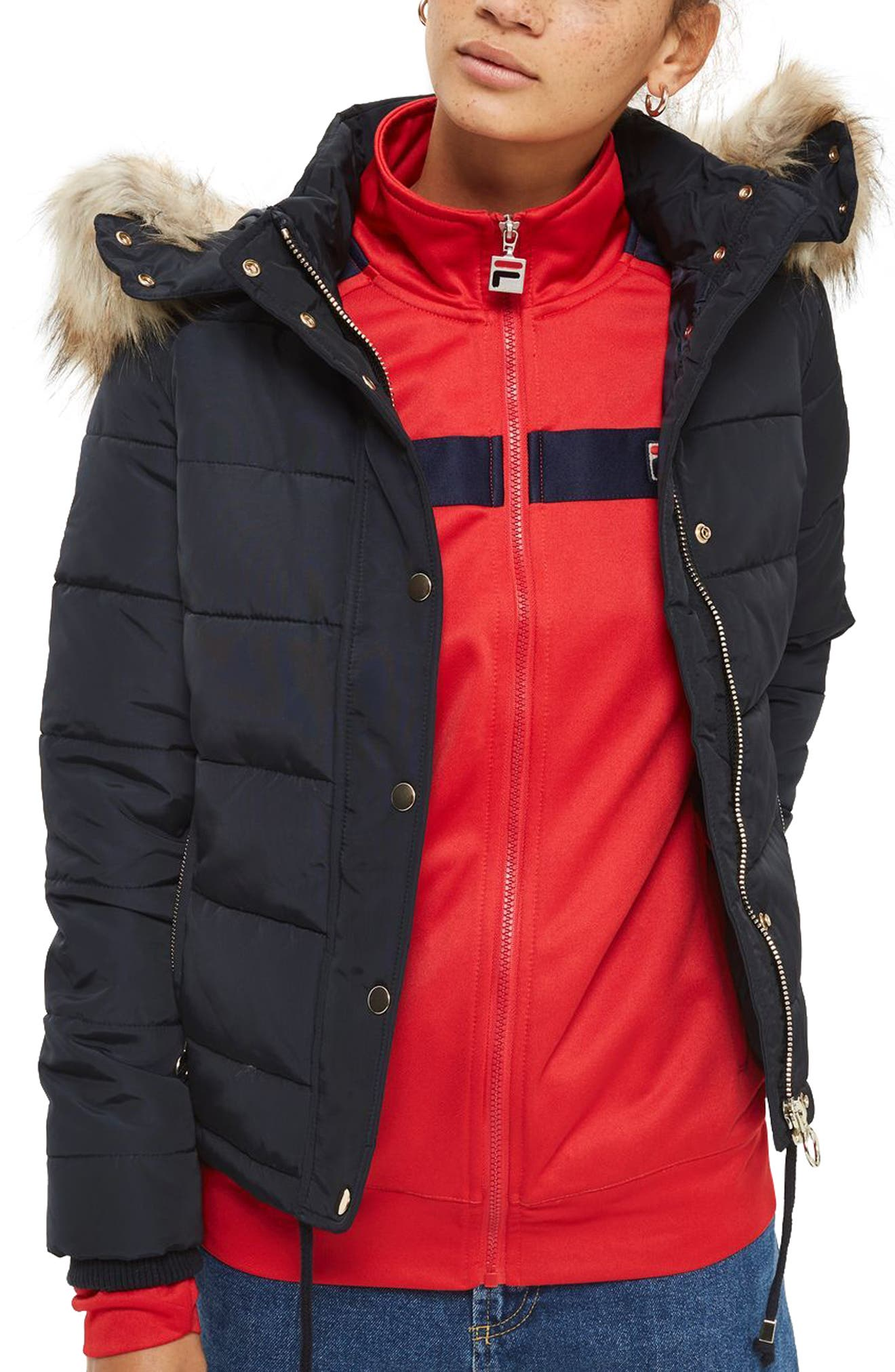 Nancy Quilted Puffer Jacket with Faux Fur Trim,                         Main,                         color, Navy Blue