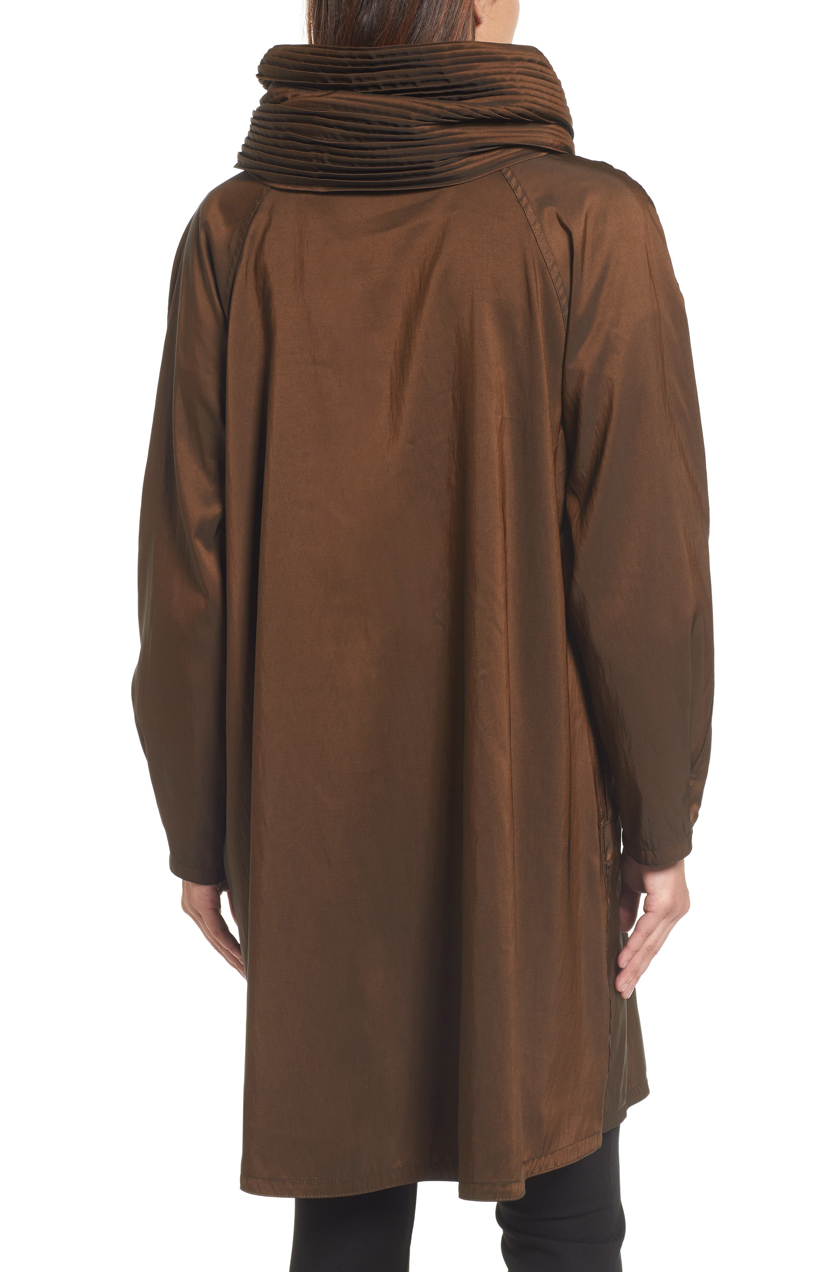 Reversible Pleat Hood Packable Travel Coat,                             Alternate thumbnail 2, color,                             Bronze/ Black