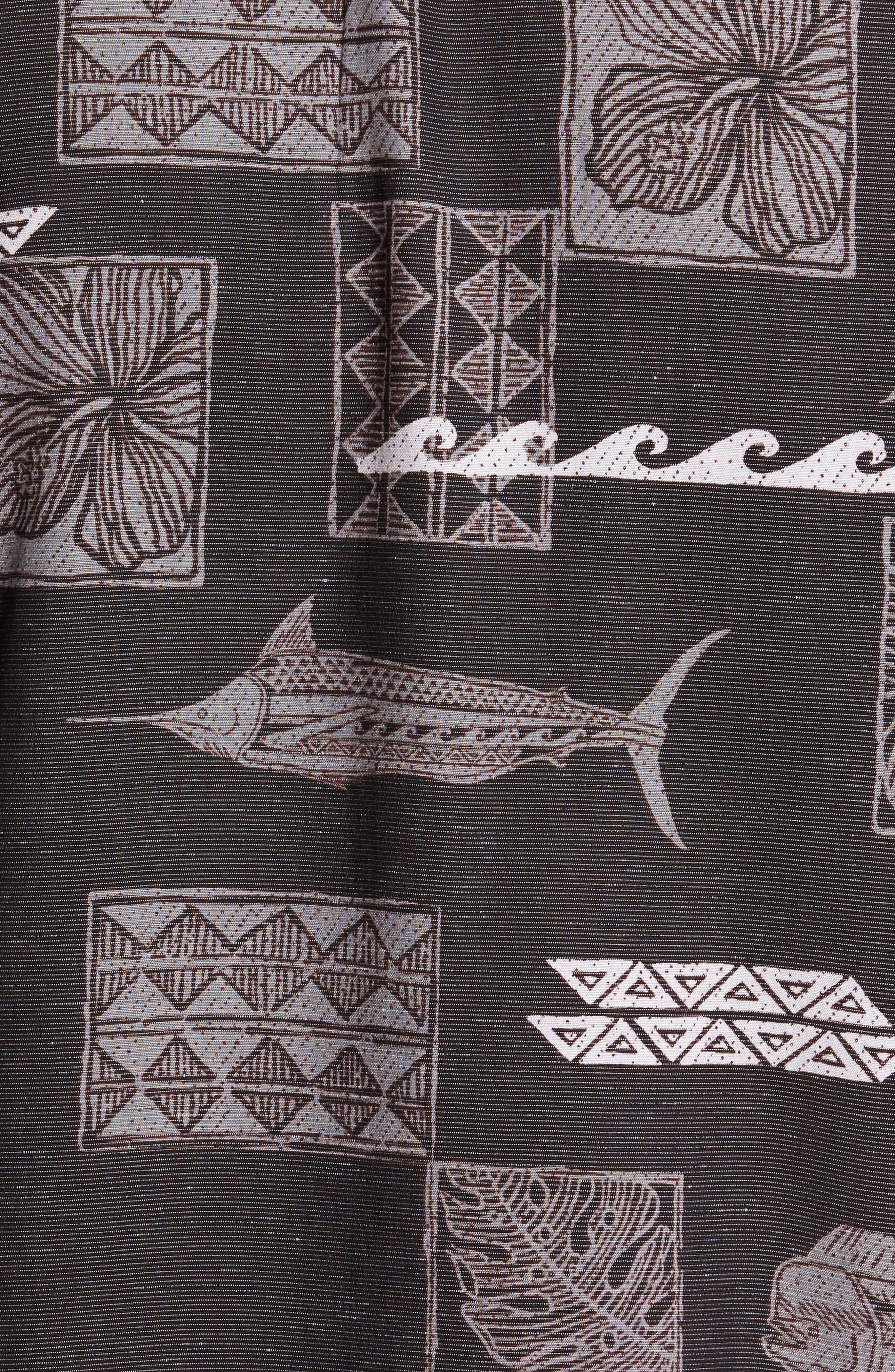 Kua Bay Print Sport Shirt,                             Alternate thumbnail 5, color,                             Black