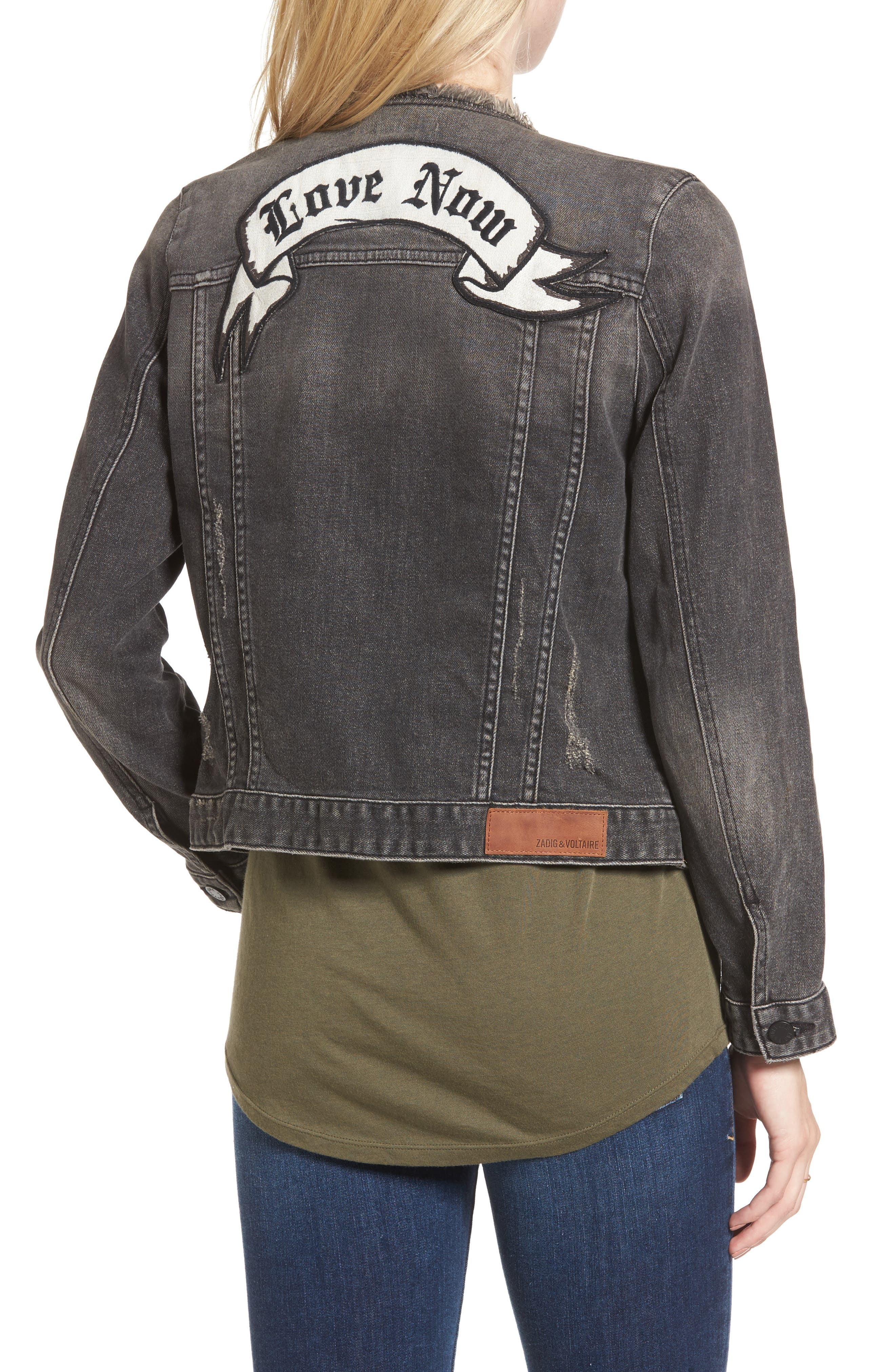 Love Now Crop Denim Jacket,                             Alternate thumbnail 2, color,                             Gris
