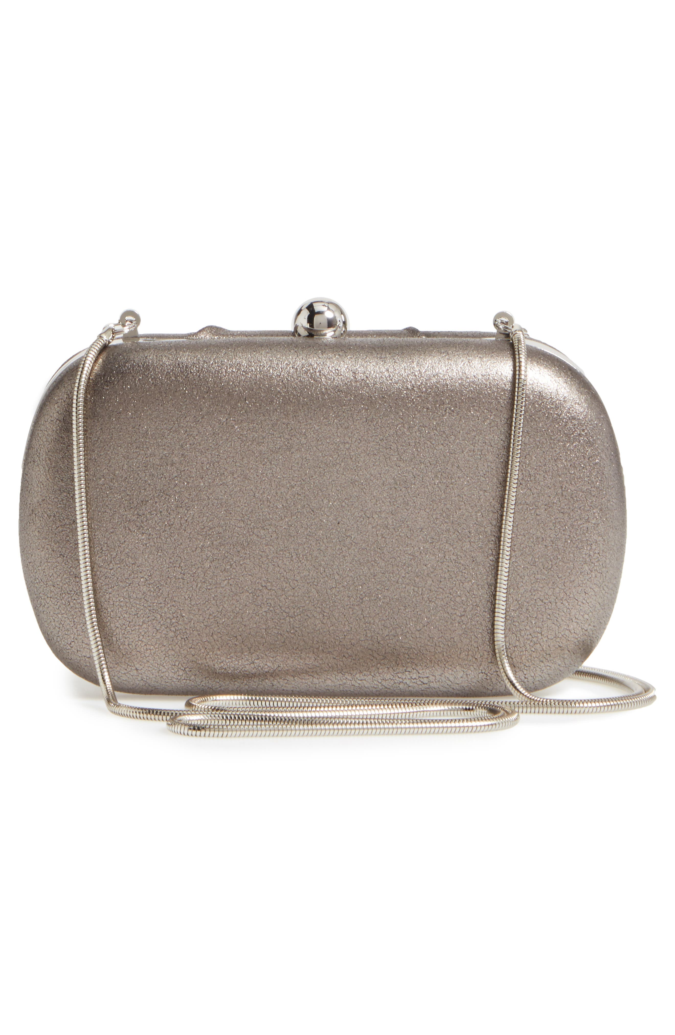 Diva Metallic Leather Clutch,                             Alternate thumbnail 3, color,                             Pewter
