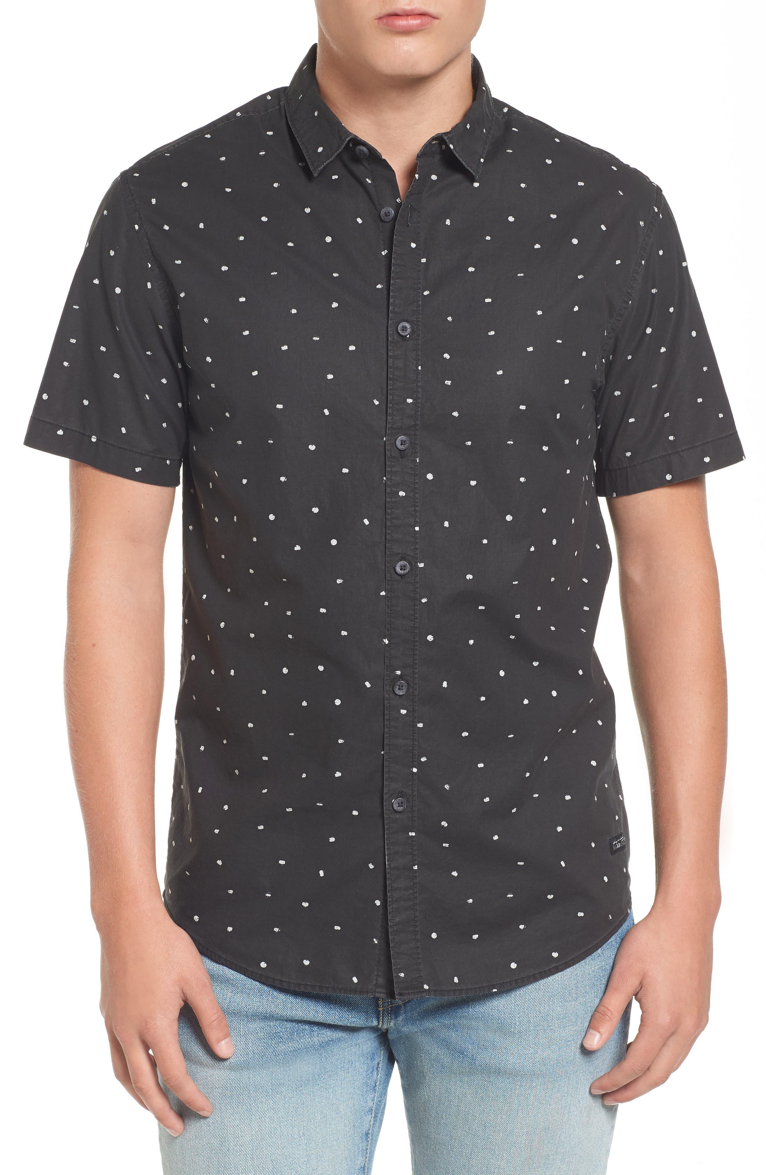 x Warhol Print Woven Cotton Shirt,                         Main,                         color, Black