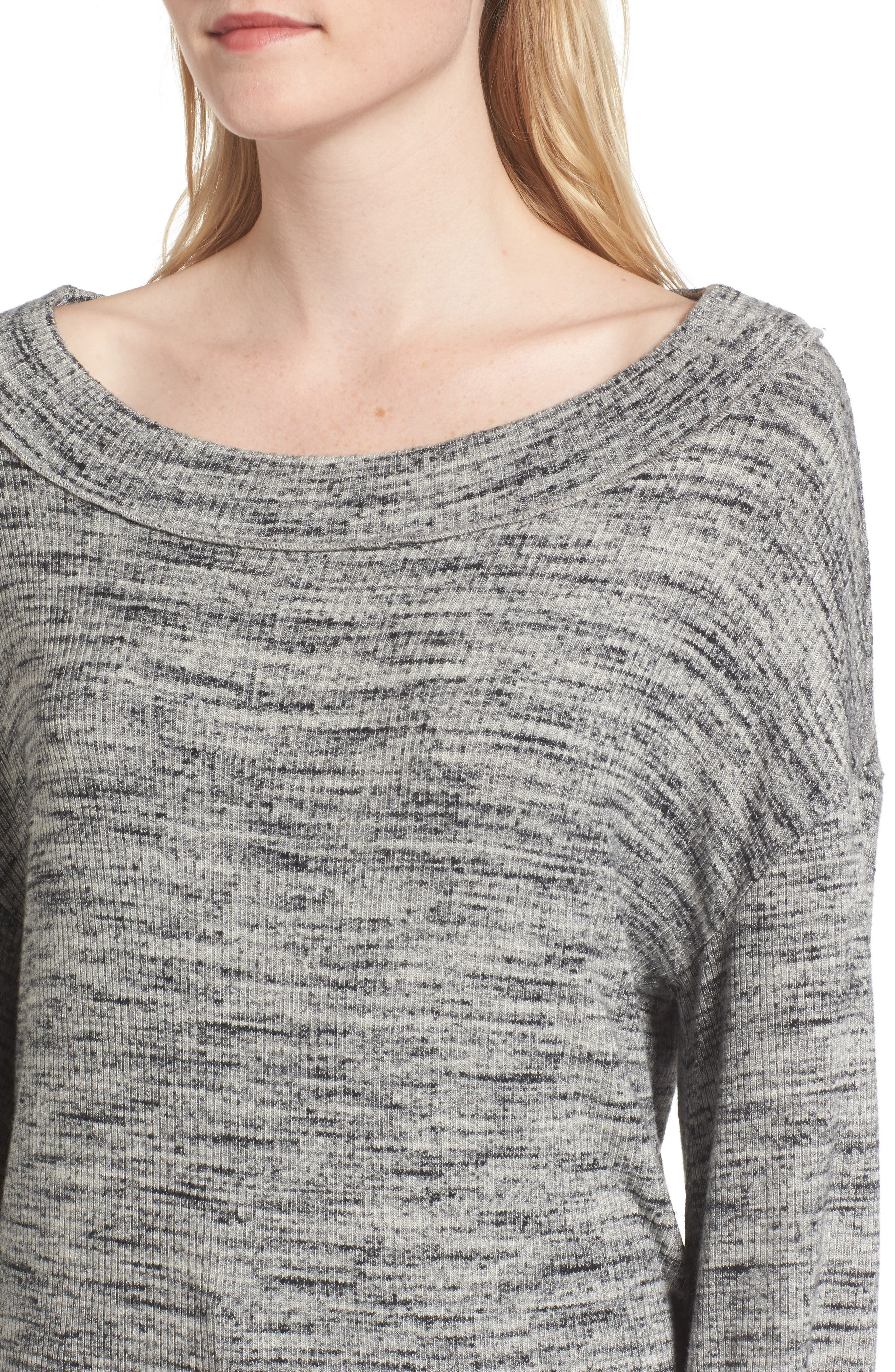 Triblend Ribbed Top,                             Alternate thumbnail 5, color,                             Heather Grey