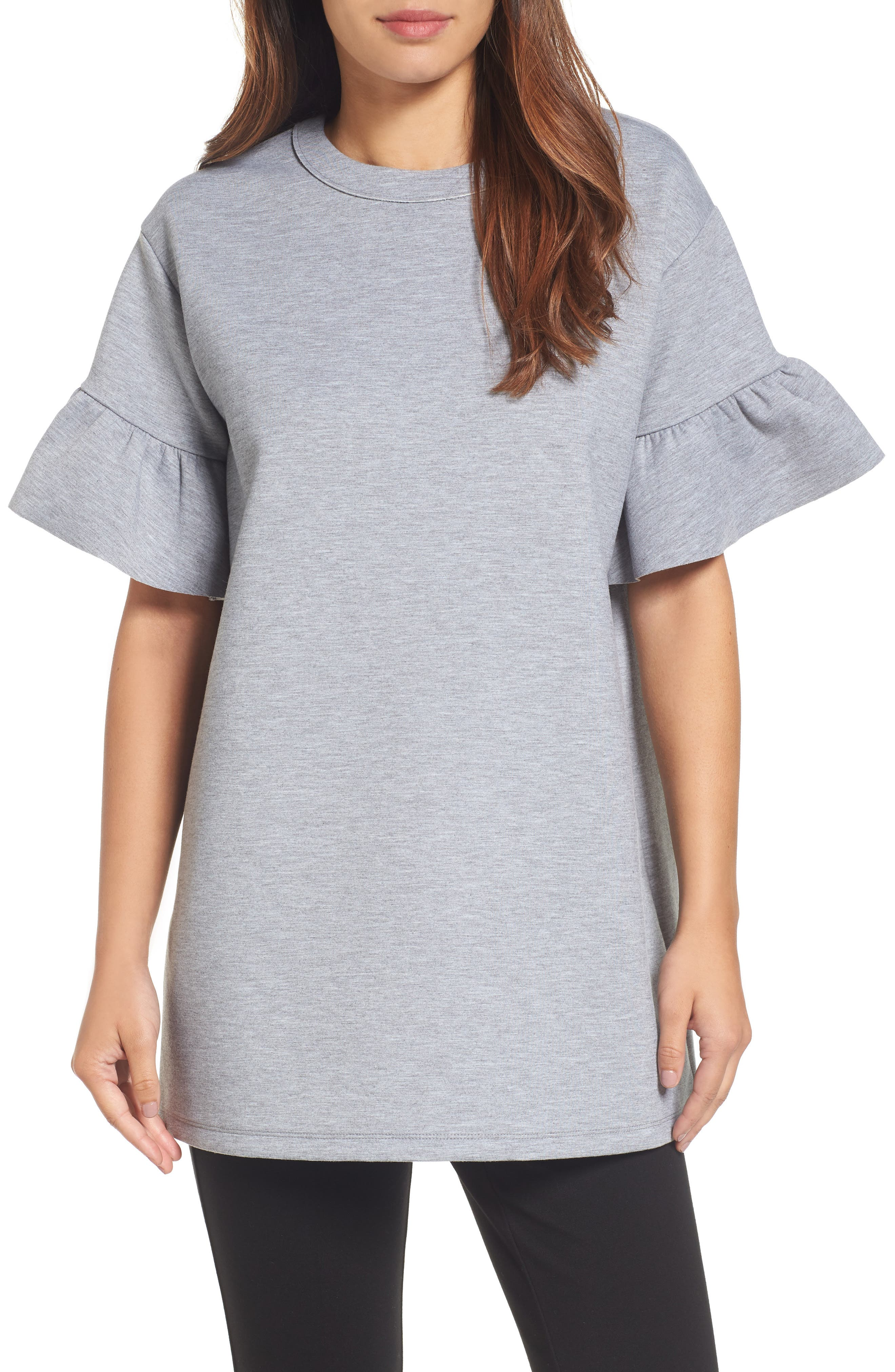 Alternate Image 1 Selected - Halogen® Ruffle Sleeve Tunic (Regular & Petite)
