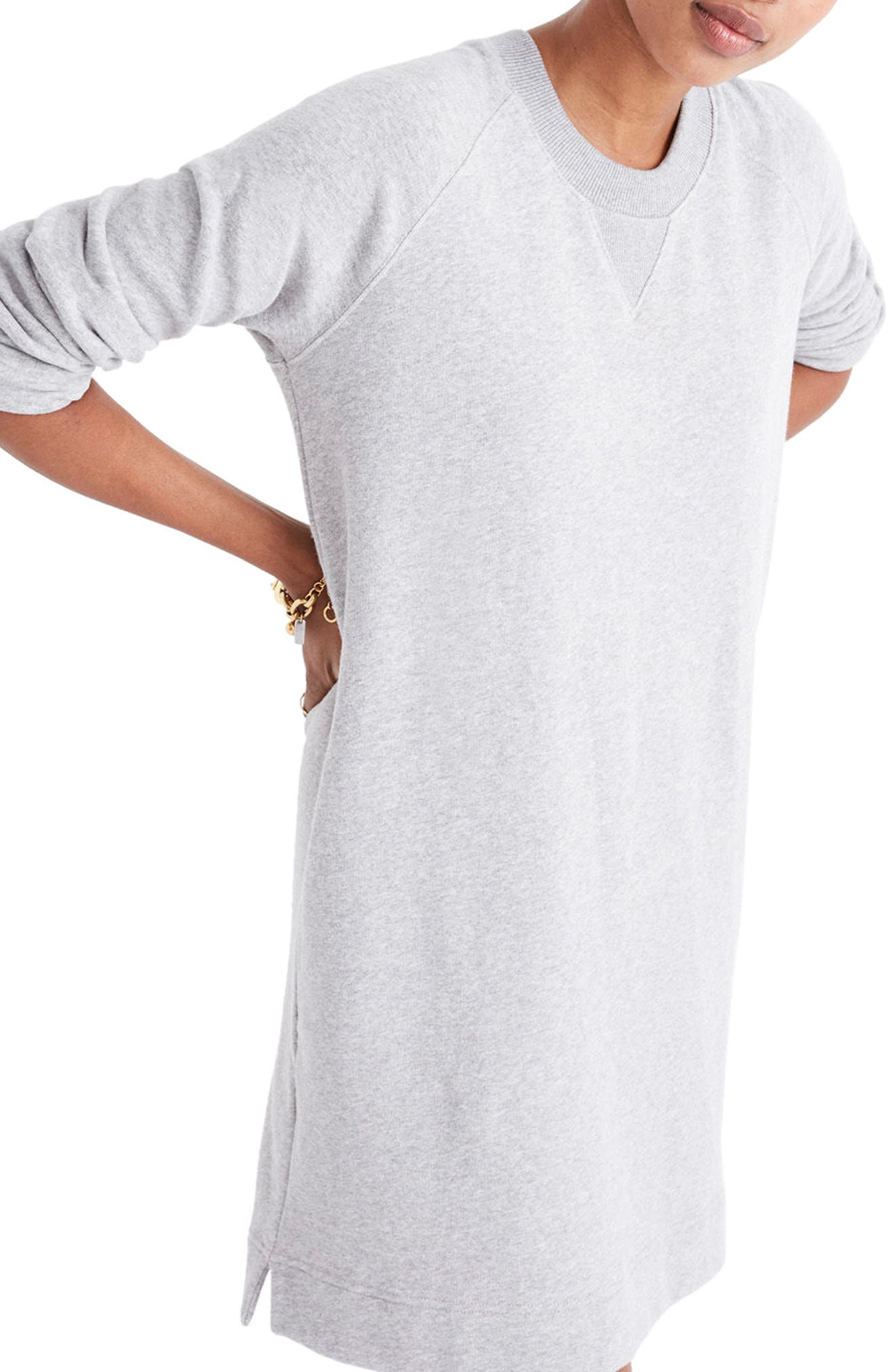 Sweatshirt Dress,                             Main thumbnail 1, color,                             Heather Smoke
