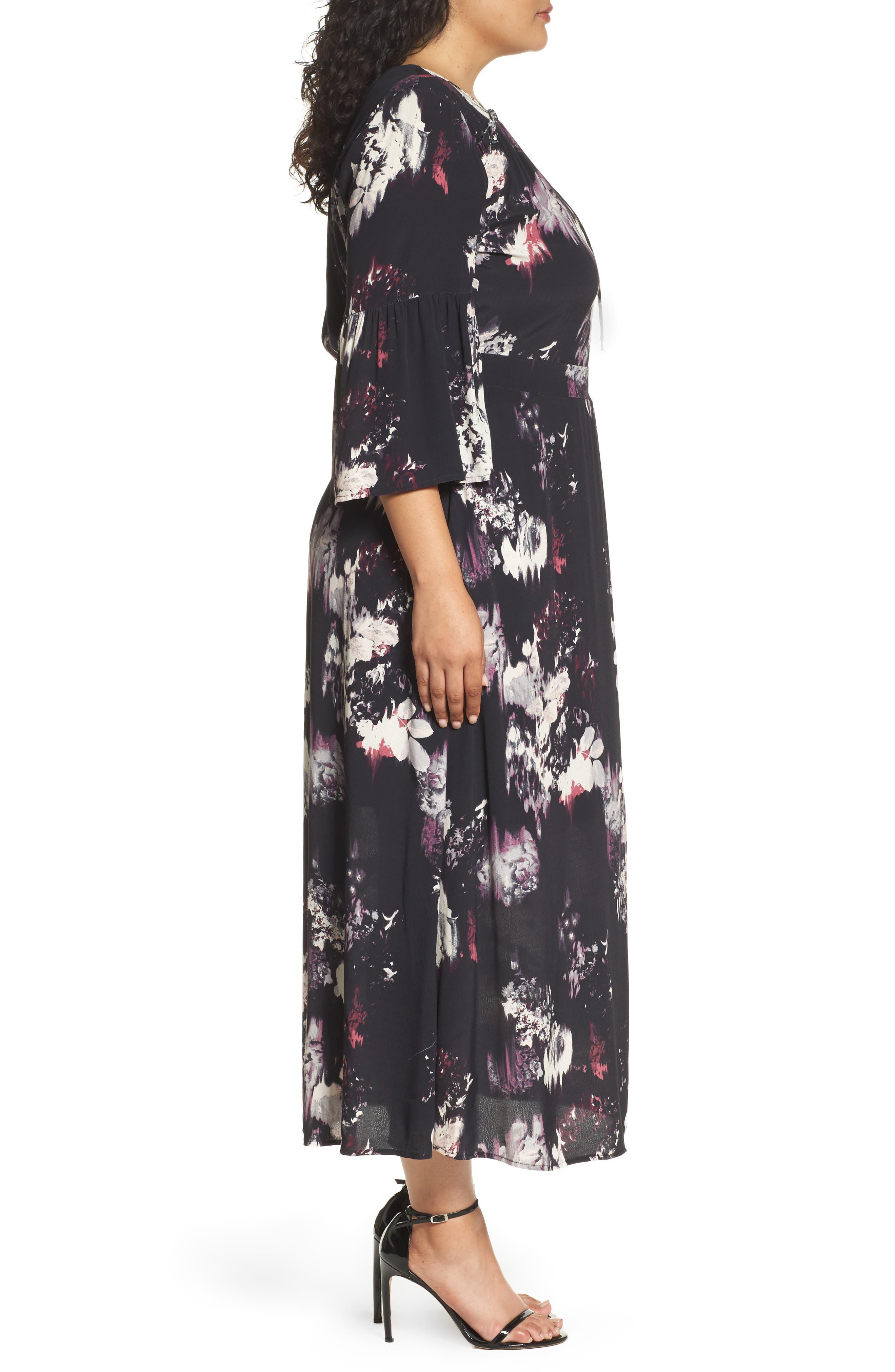 Alternate Image 4  - Sejour Bell Sleeve A-Line Maxi Dress (Plus Size)