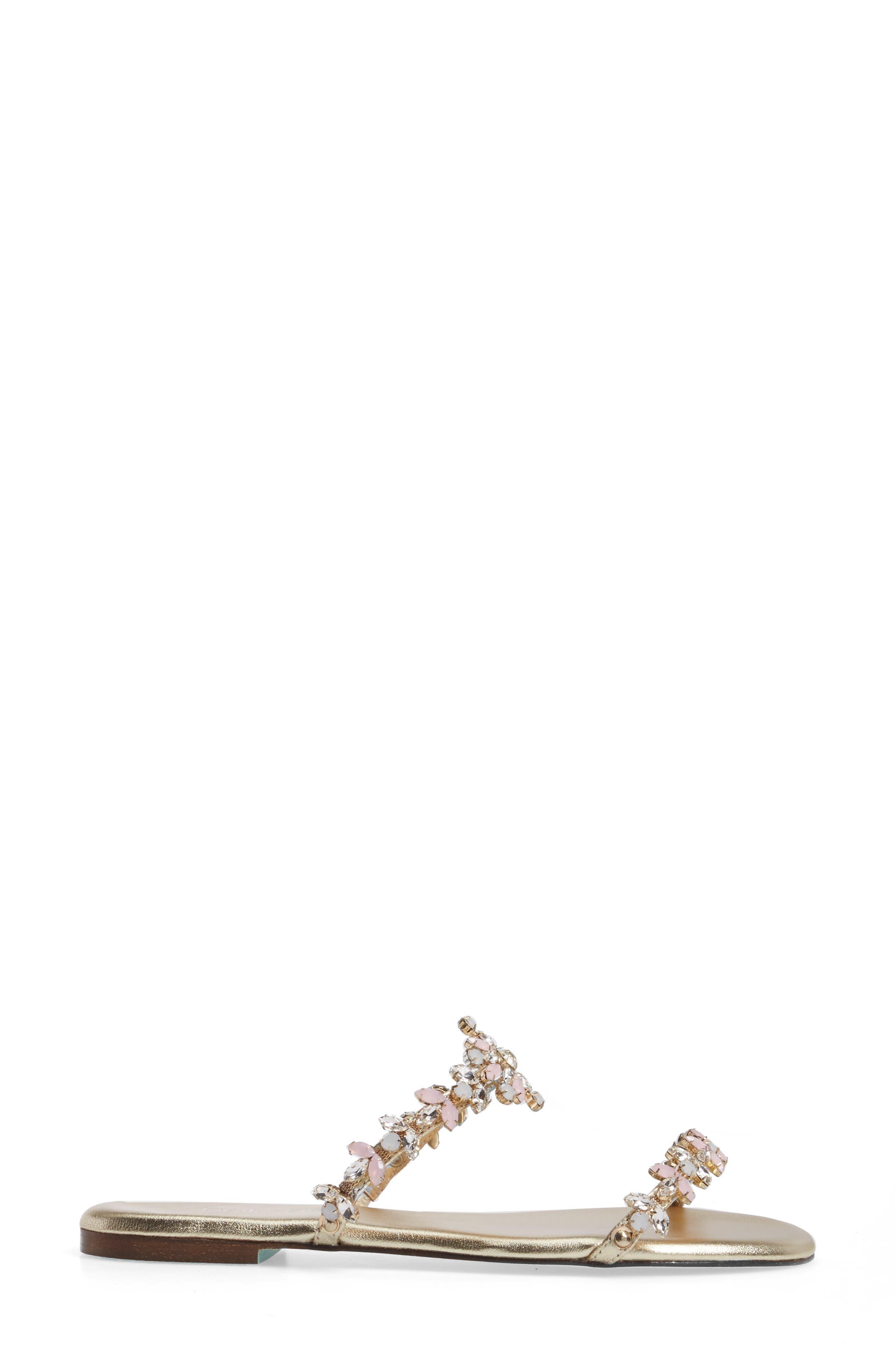 Jules Slide Sandal,                             Alternate thumbnail 3, color,                             Soft Gold Leather