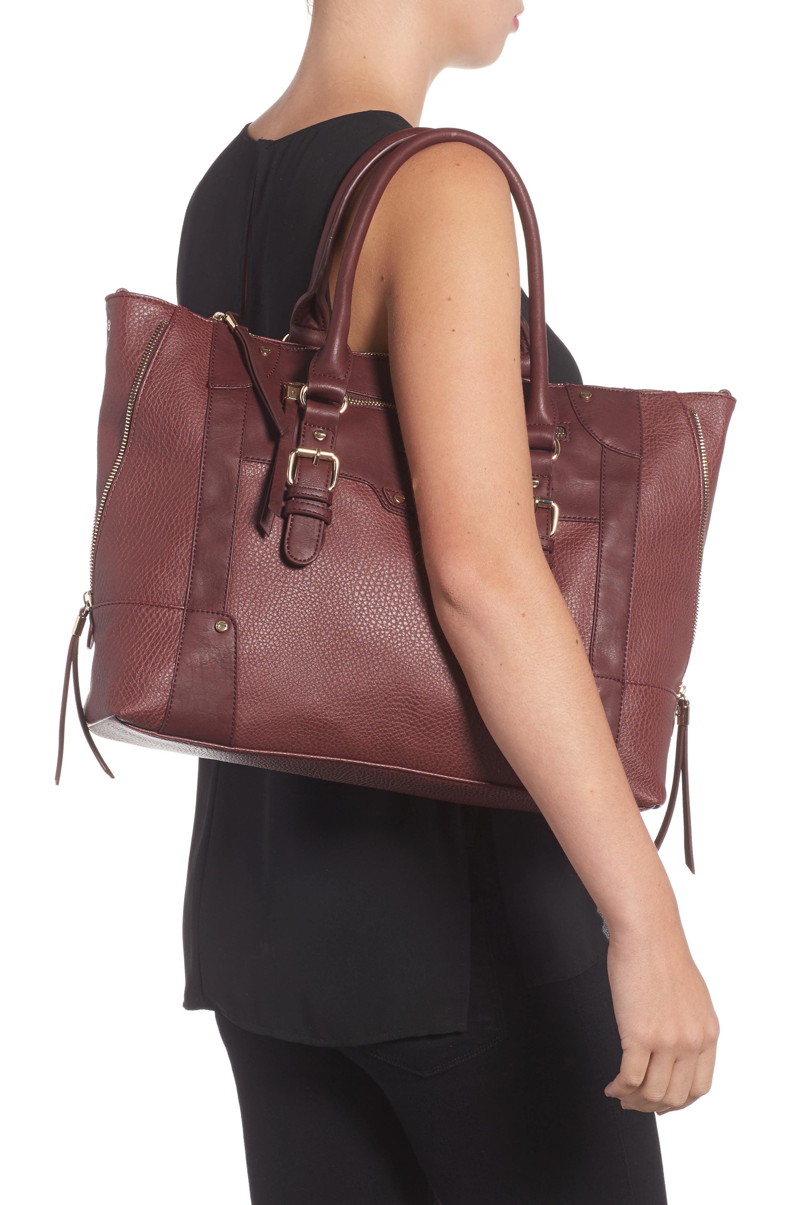'Susan' Winged Faux Leather Tote,                             Alternate thumbnail 2, color,                             Oxblood