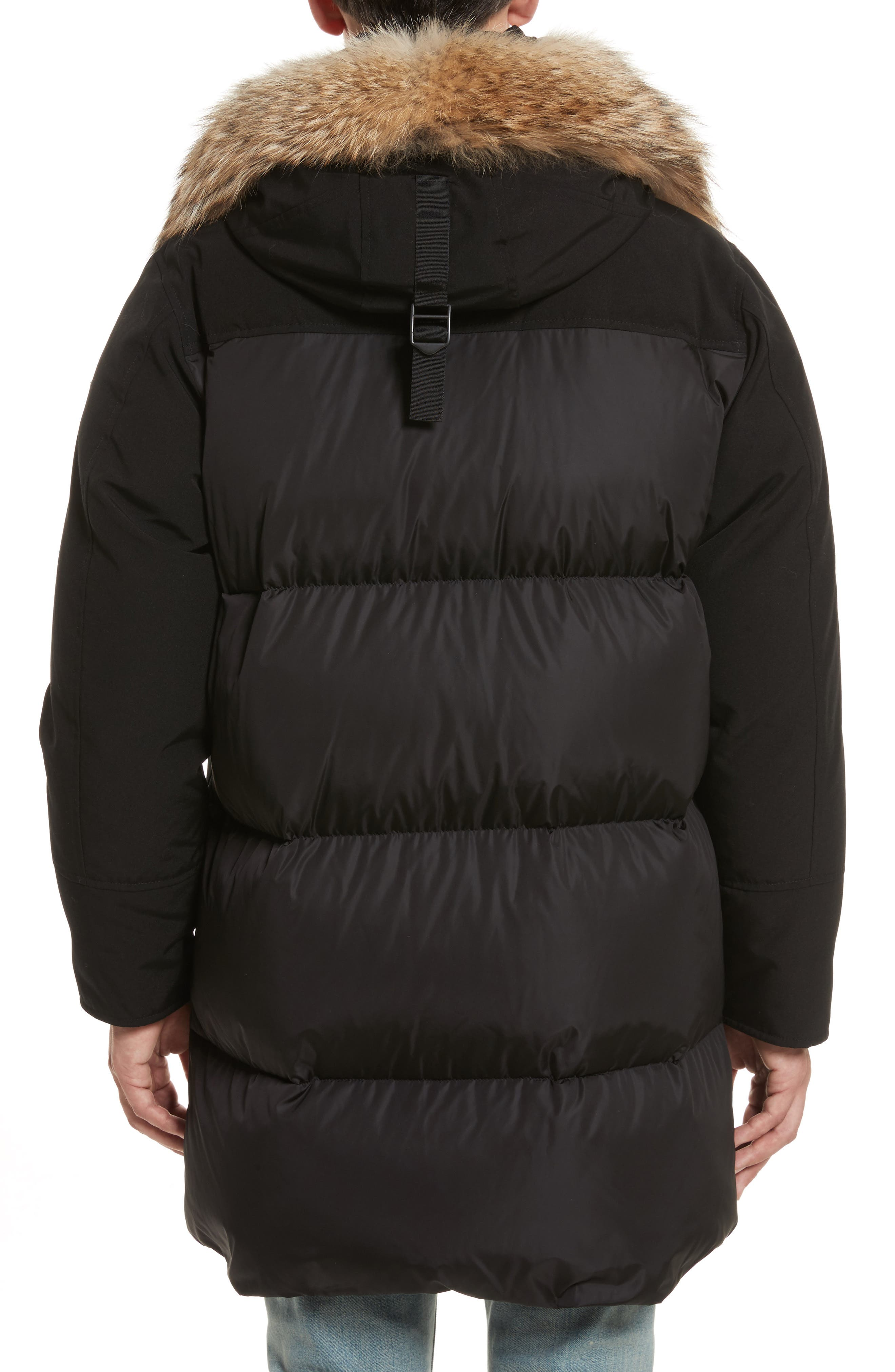 Aurelien Down Parka with Genuine Fur Trim,                             Alternate thumbnail 2, color,                             Black