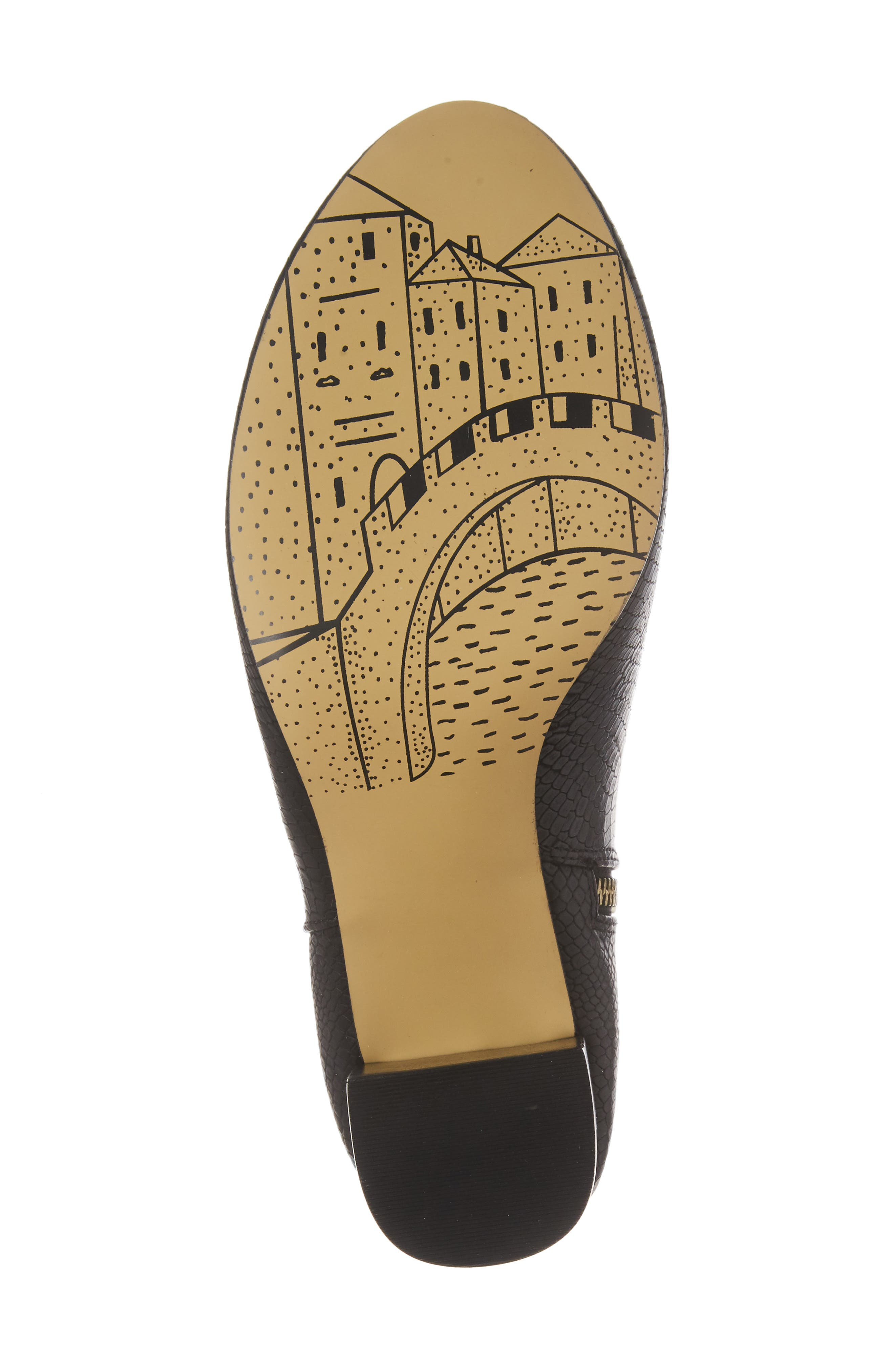 Klaudia II Block Heel Bootie,                             Alternate thumbnail 6, color,                             Black Printed Leather