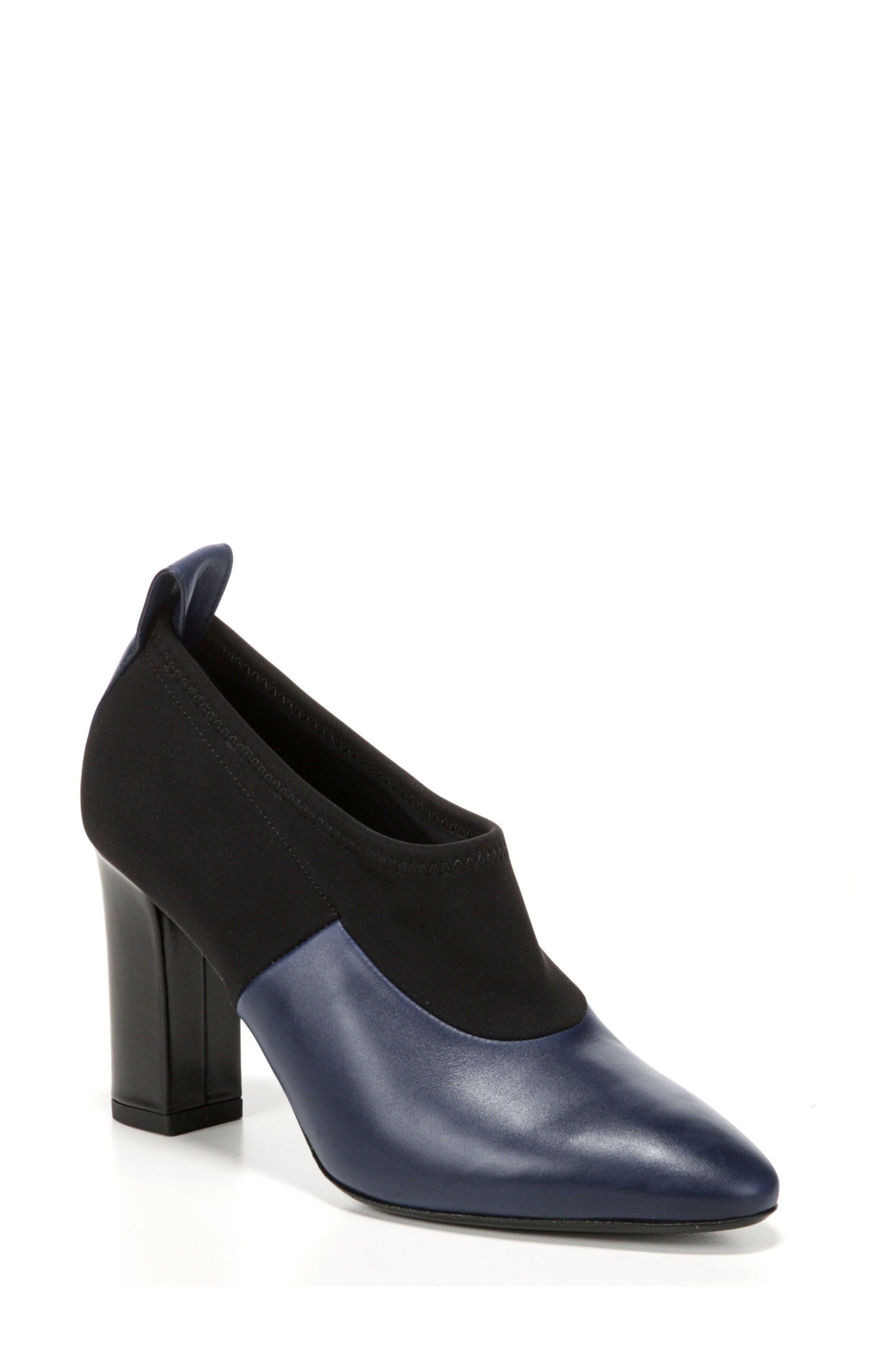 Bayne Block Heel Bootie,                         Main,                         color, Midnight/ Black