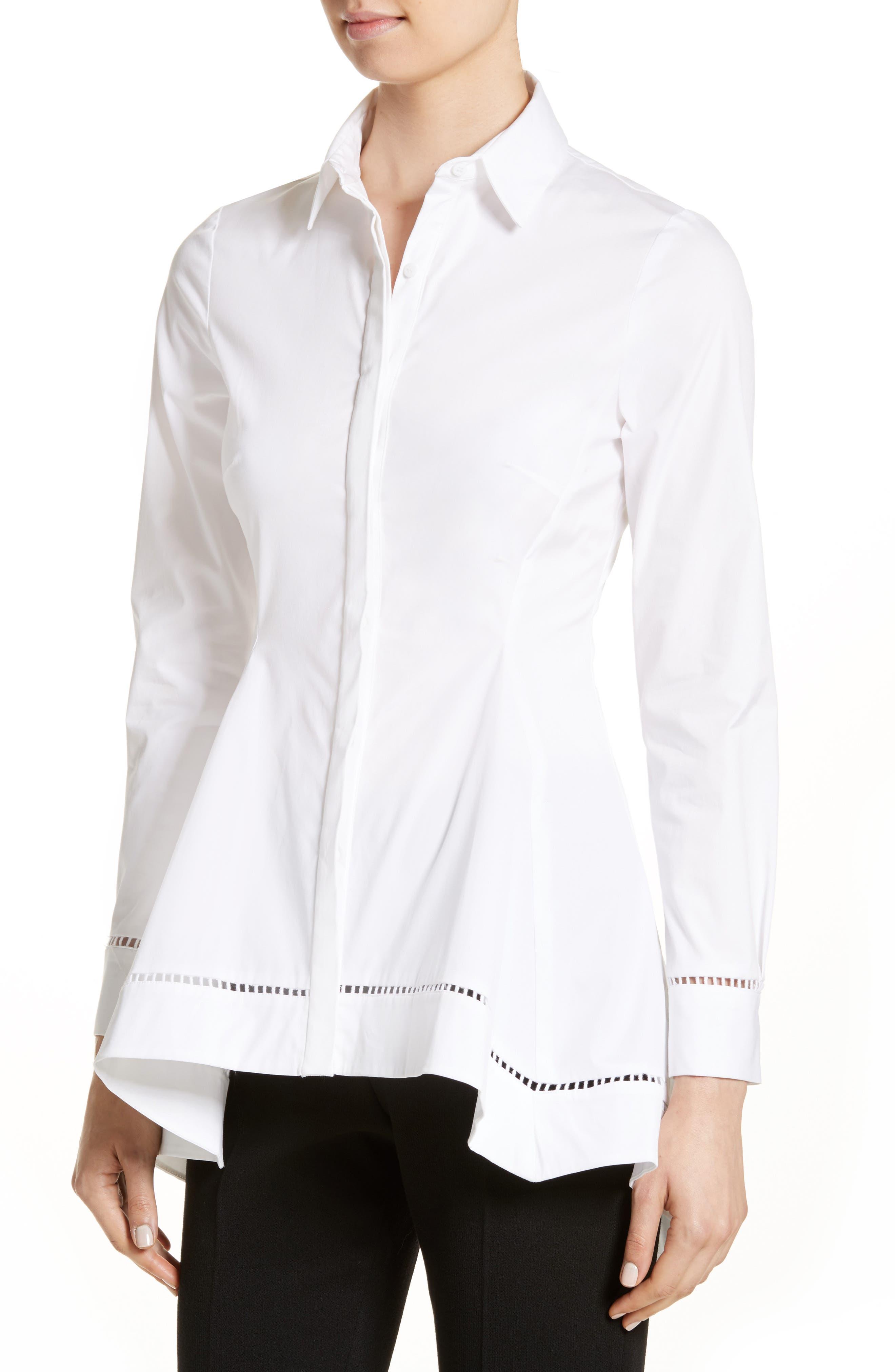 Peplum Shirt,                             Alternate thumbnail 4, color,                             White
